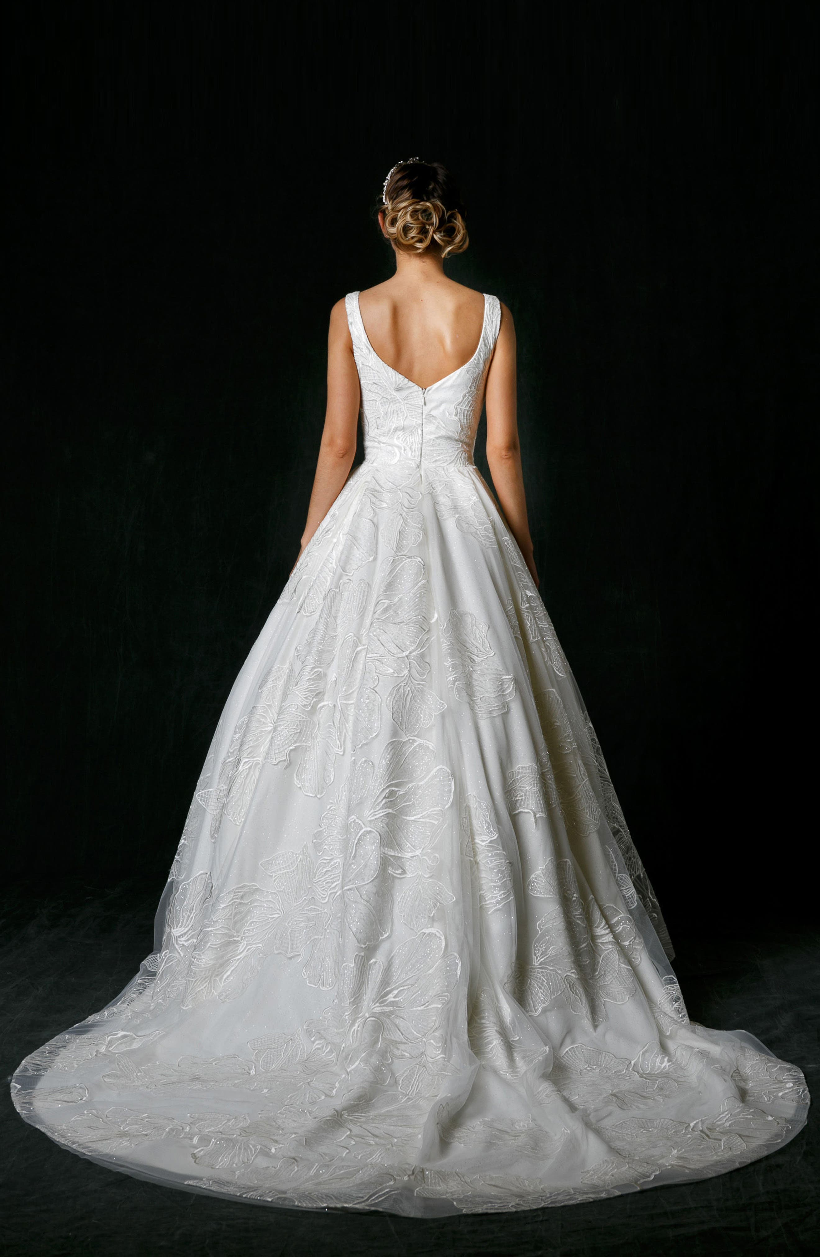 Alessandra Plunge Ballgown,                             Alternate thumbnail 2, color,                             IVORY