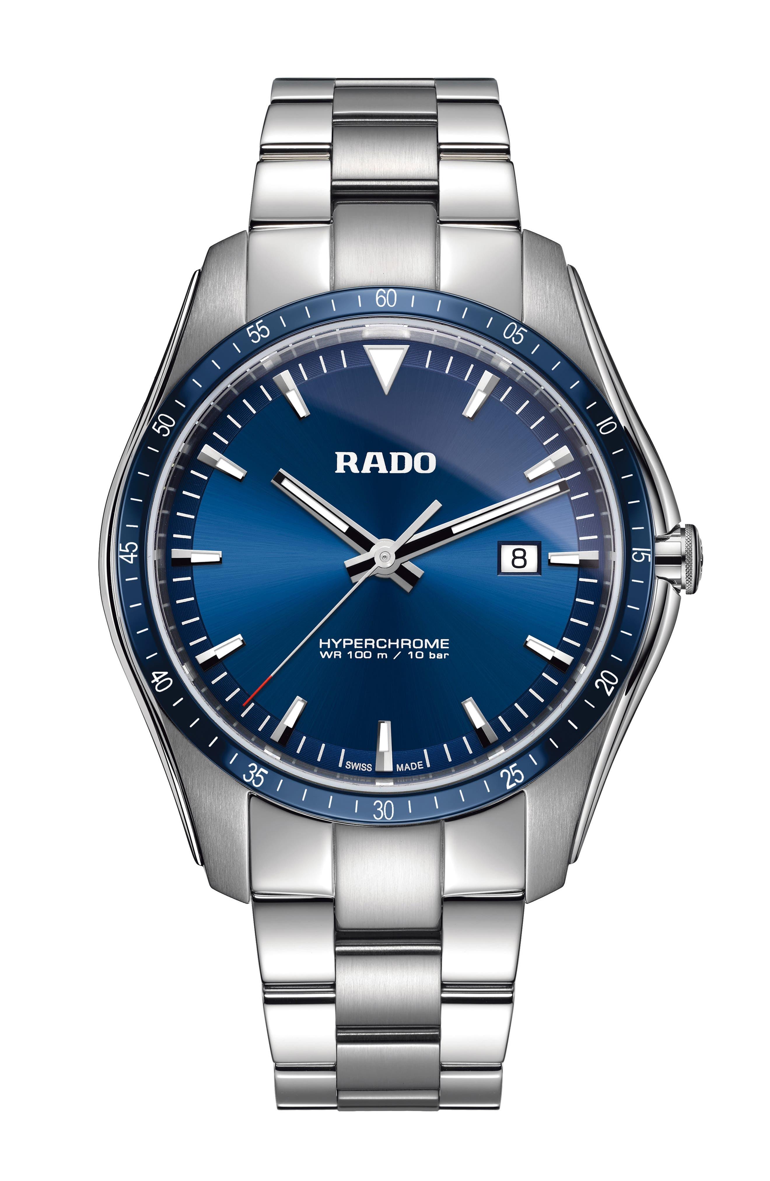 RADO Hyperchrome Bracelet Watch, 45Mm in Silver/ Blue