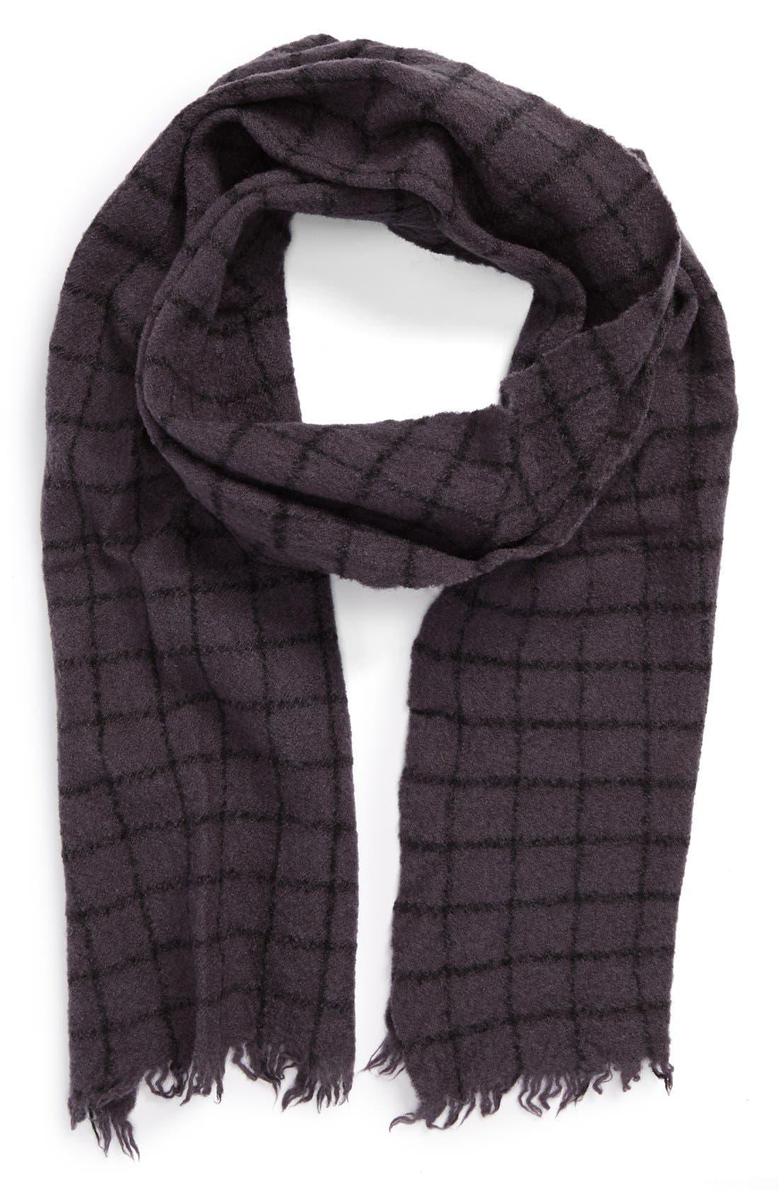 TOPMAN,                             Grid Wool Knit Scarf,                             Main thumbnail 1, color,                             021
