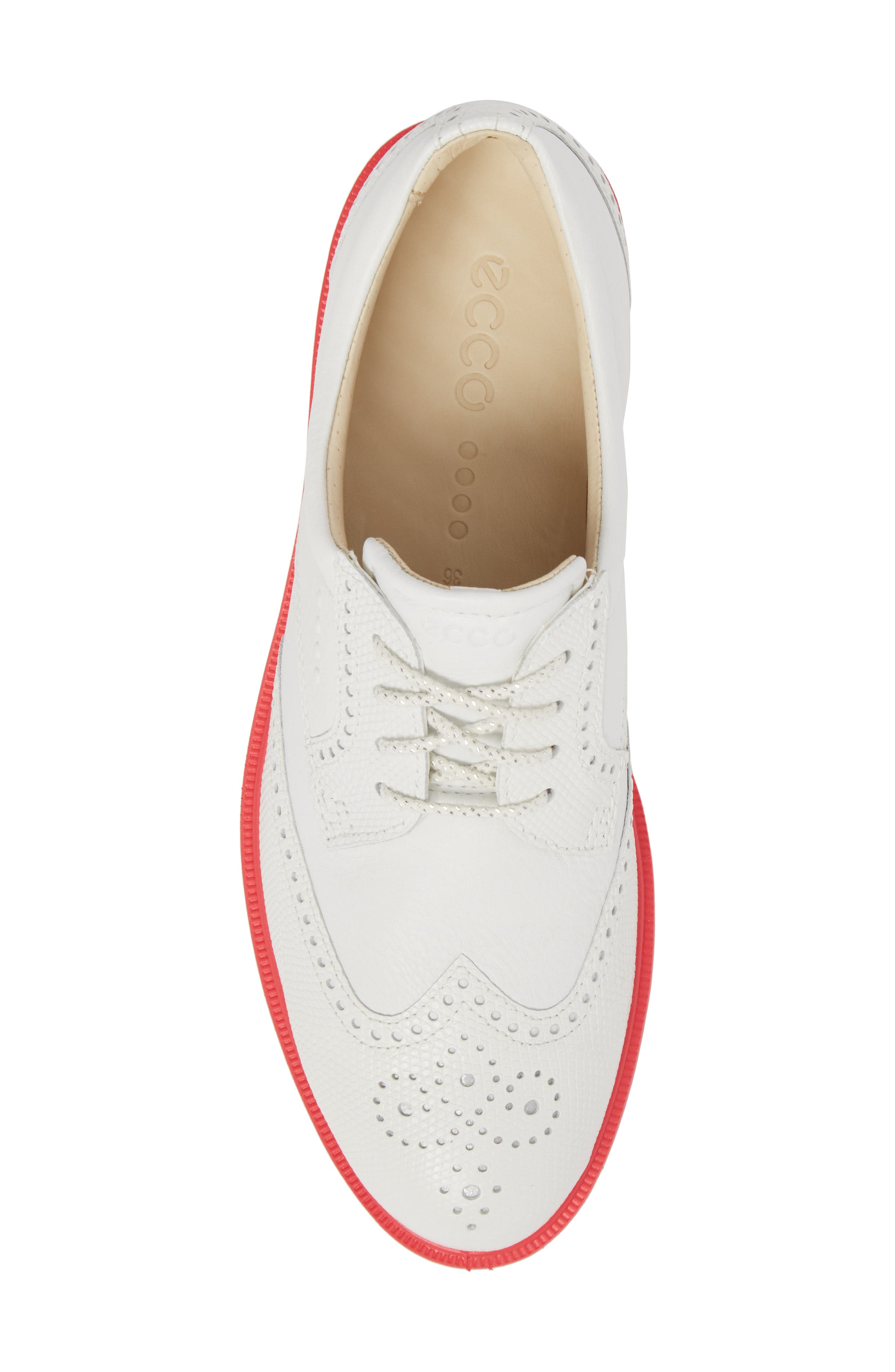 'Tour' Hybrid Wingtip Golf Shoe,                             Alternate thumbnail 5, color,                             WHITE LEATHER/ RED