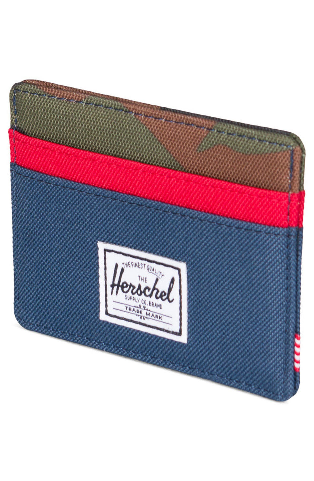Charlie RFID Card Case,                             Alternate thumbnail 4, color,                             NAVY/ RED/ CAMO