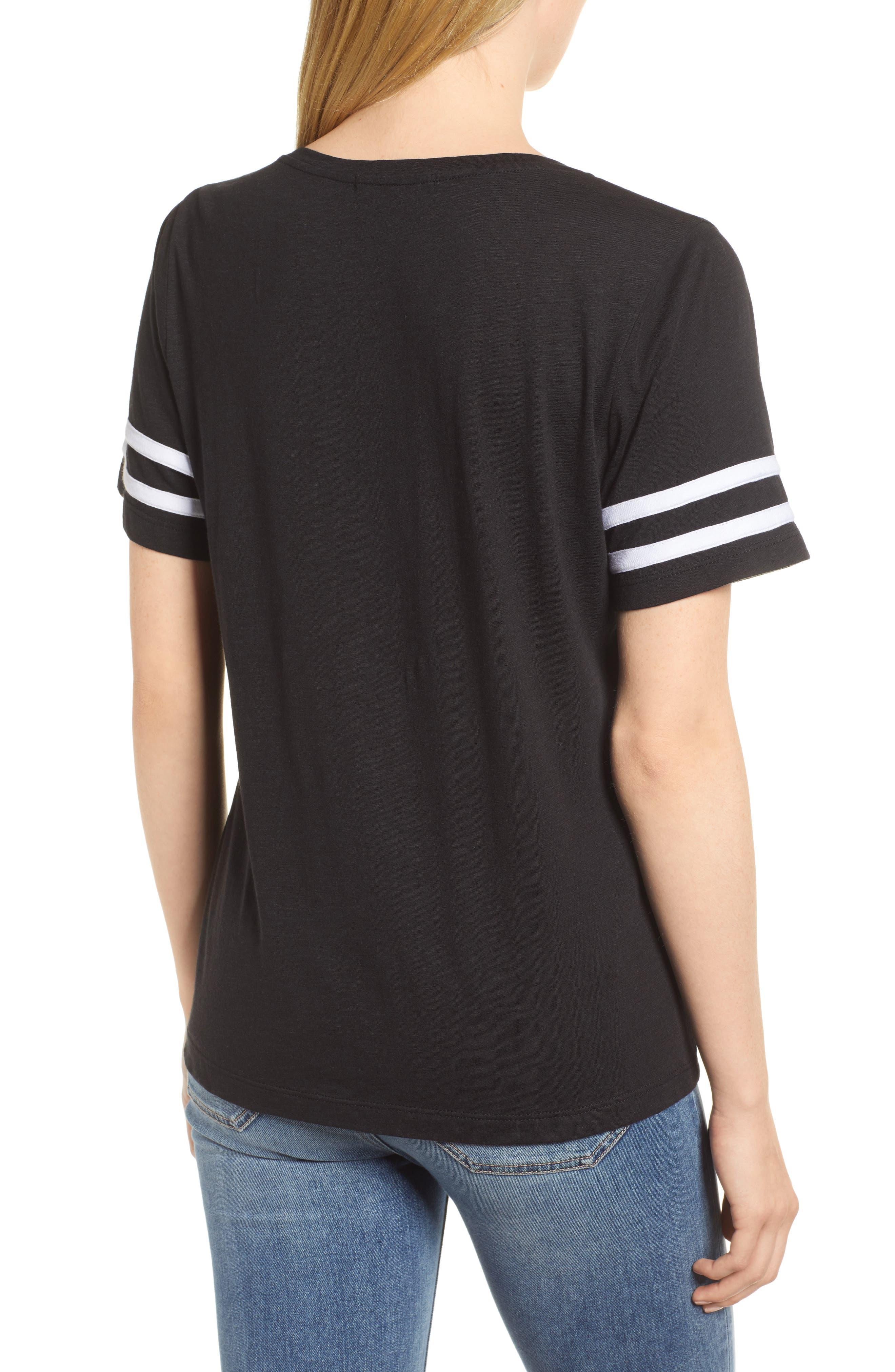 Stripe Sleeve Cotton Blend Athletic Tee,                             Alternate thumbnail 6, color,