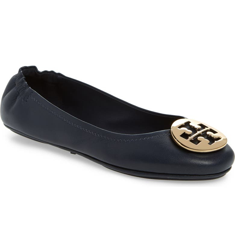 be510d766 Tory Burch Ink Navy Nappa Leather Minnie Ballerinas W Metal Logo In ...