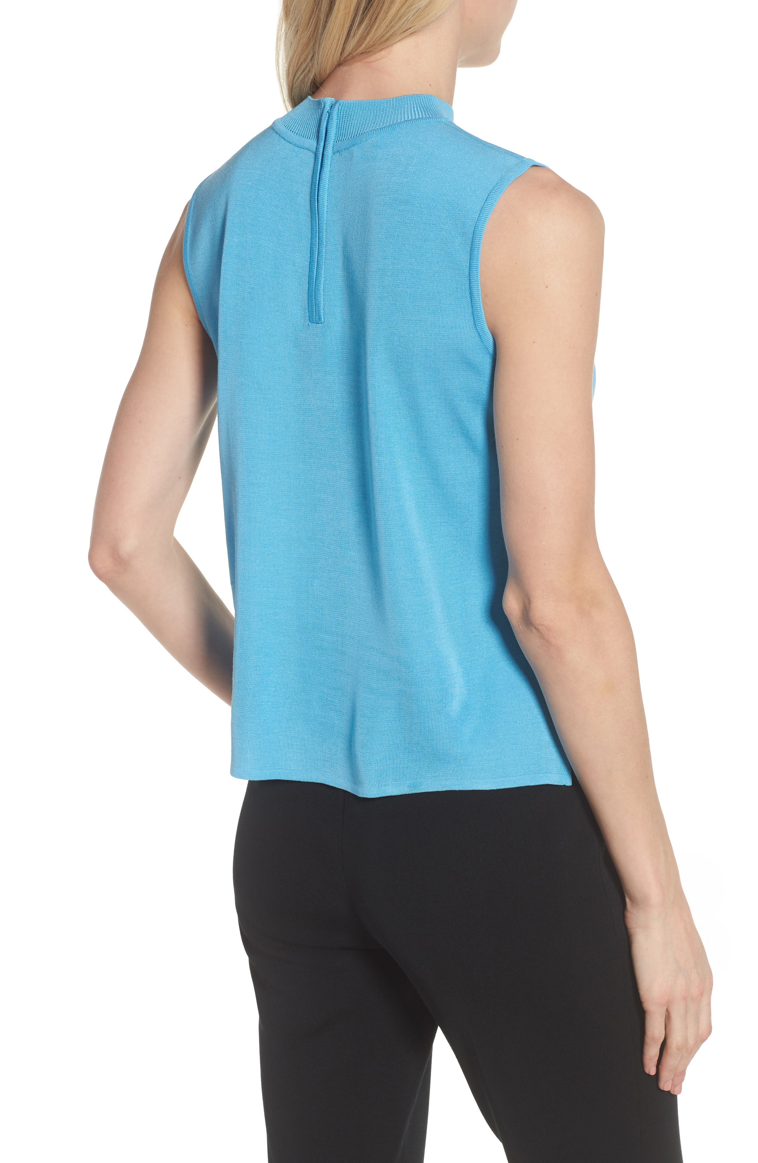 Mock Neck Knit Tank,                             Alternate thumbnail 2, color,                             BLUEBONNET