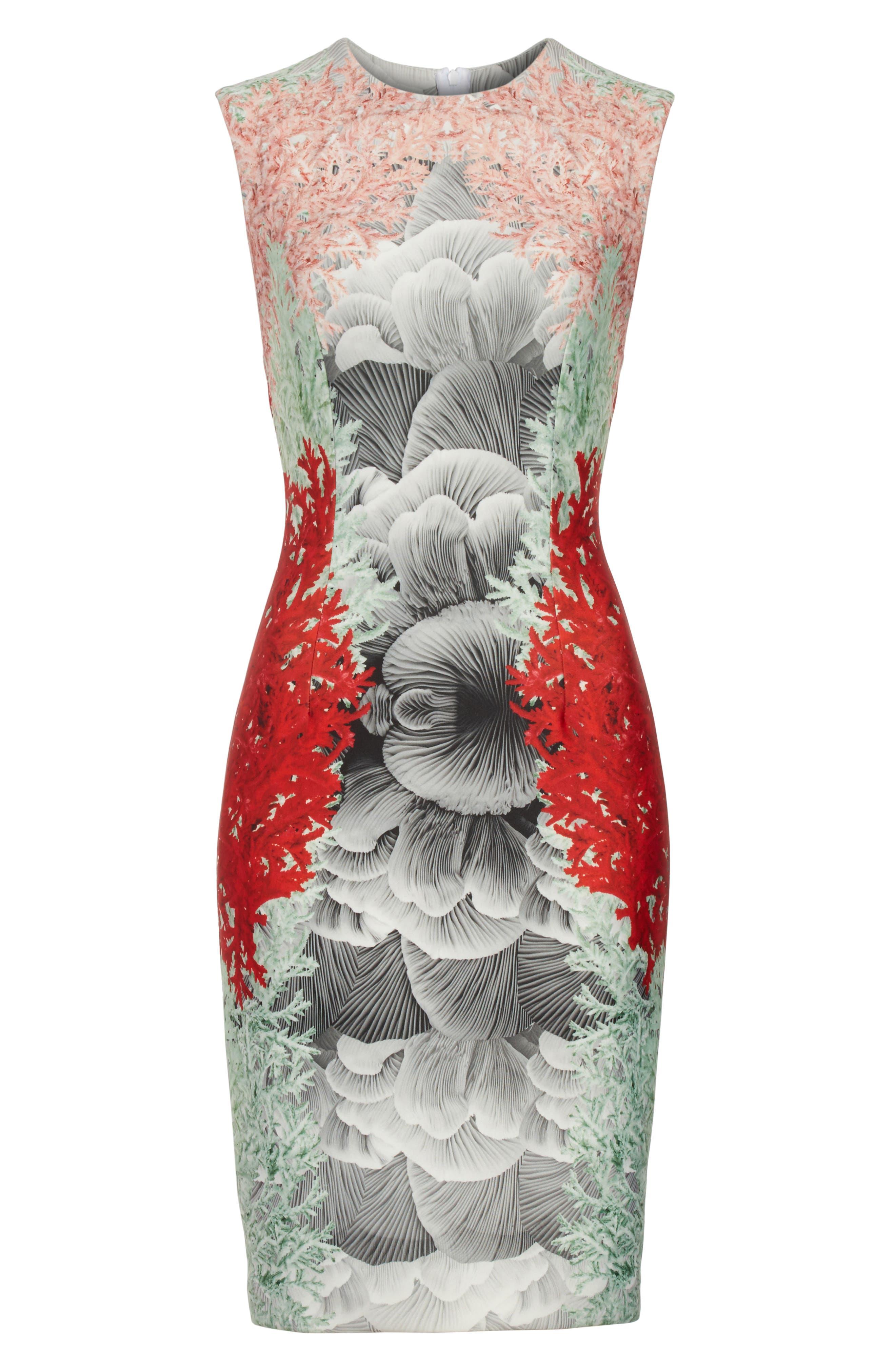 Coral Print Scuba Sheath Dress,                             Alternate thumbnail 6, color,