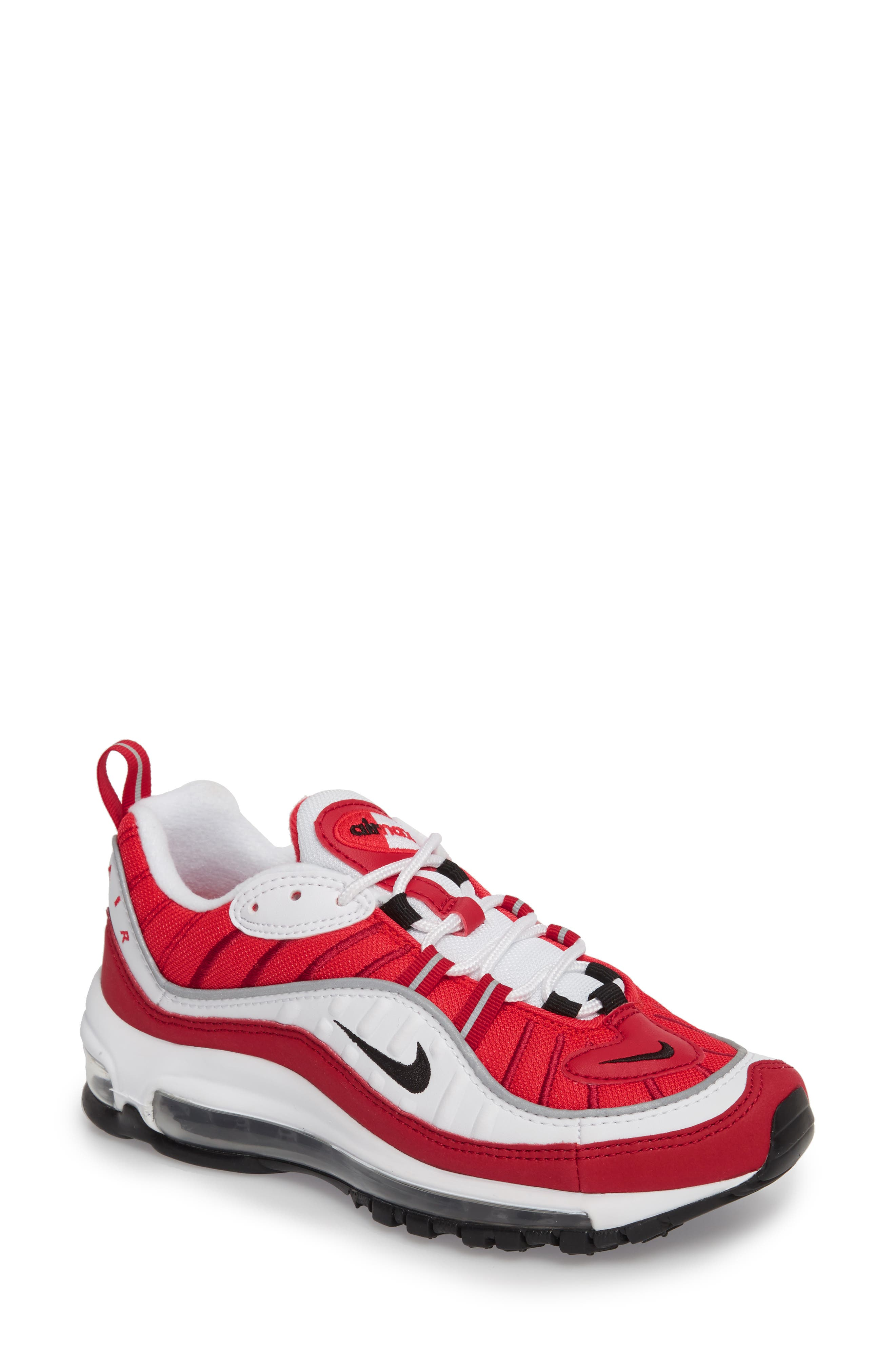 Nike Air Max 98 Running Shoe In White  Black  Gym Red  921dba29d