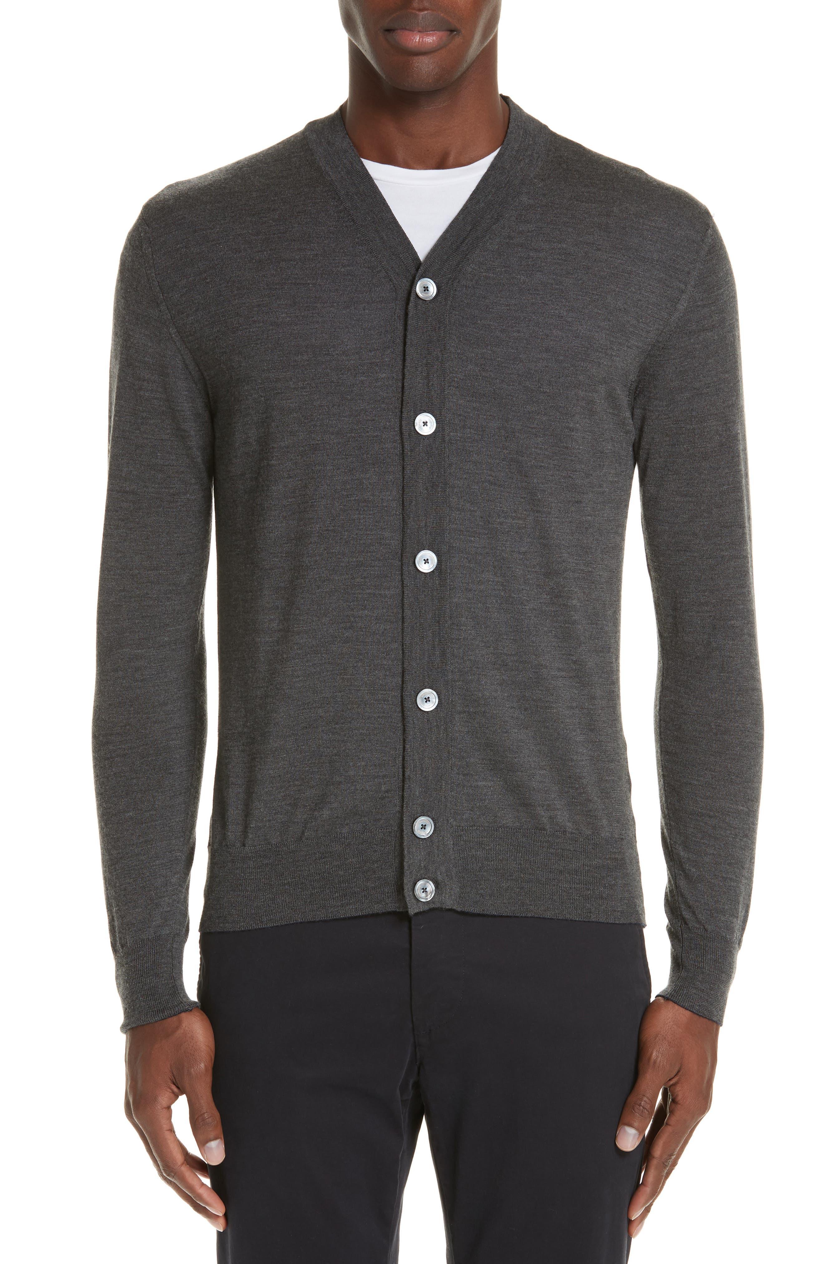 Trim Fit Merino Wool & Silk Cardigan,                         Main,                         color, GREY