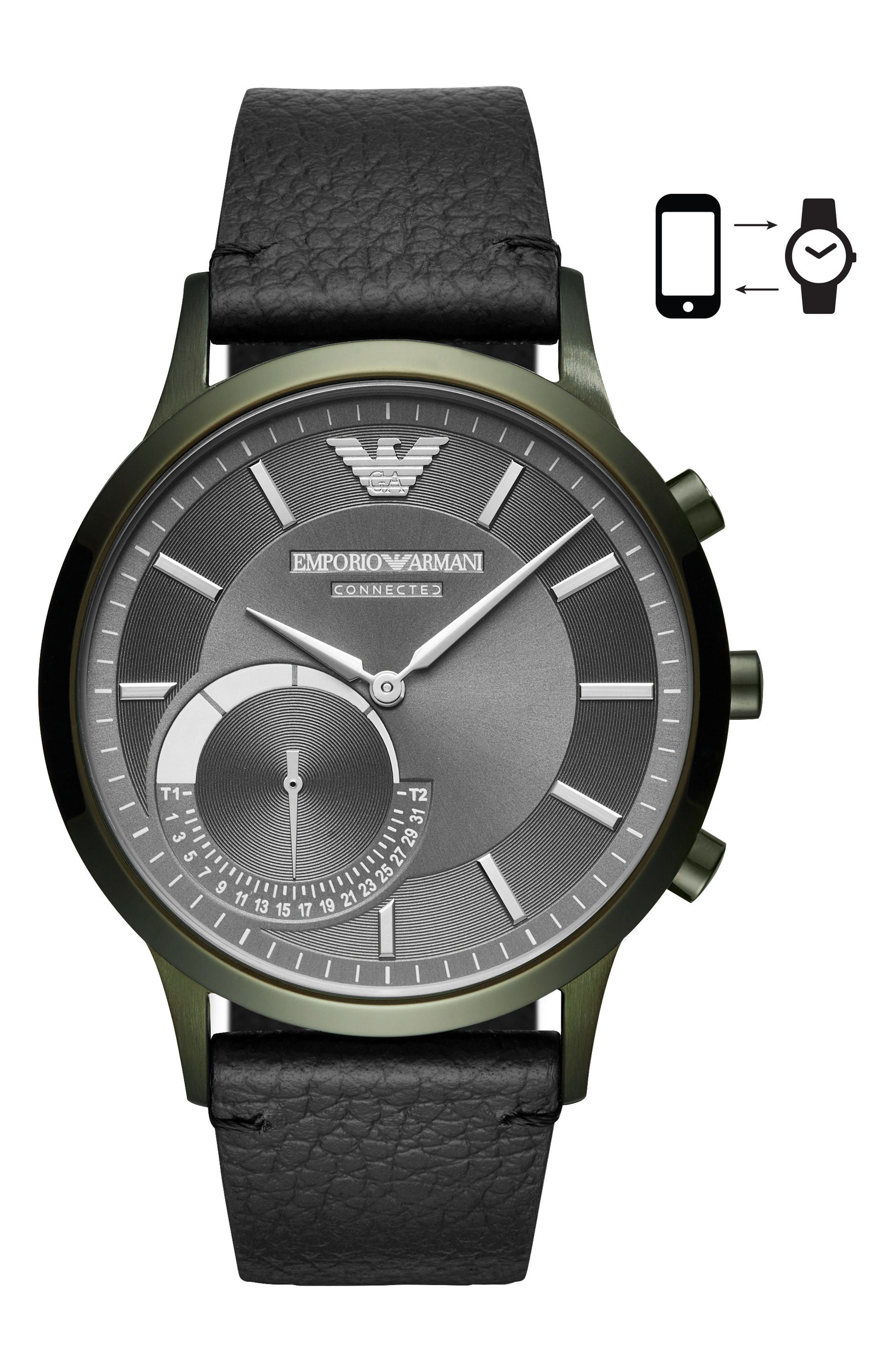 Renato Hybrid Leather Strap Watch, 43mm,                             Main thumbnail 1, color,                             001