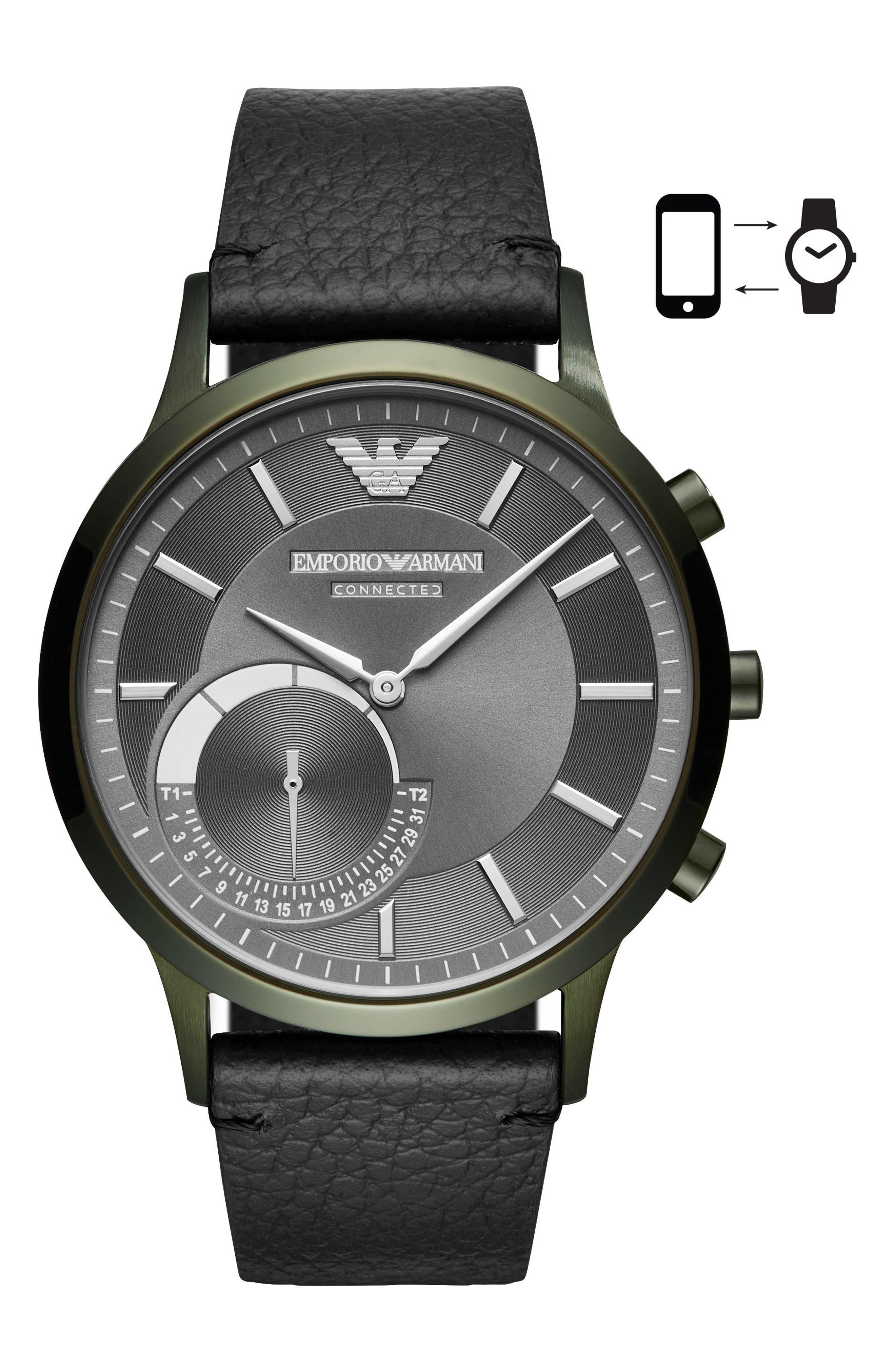 Renato Hybrid Leather Strap Watch, 43mm,                         Main,                         color, 001