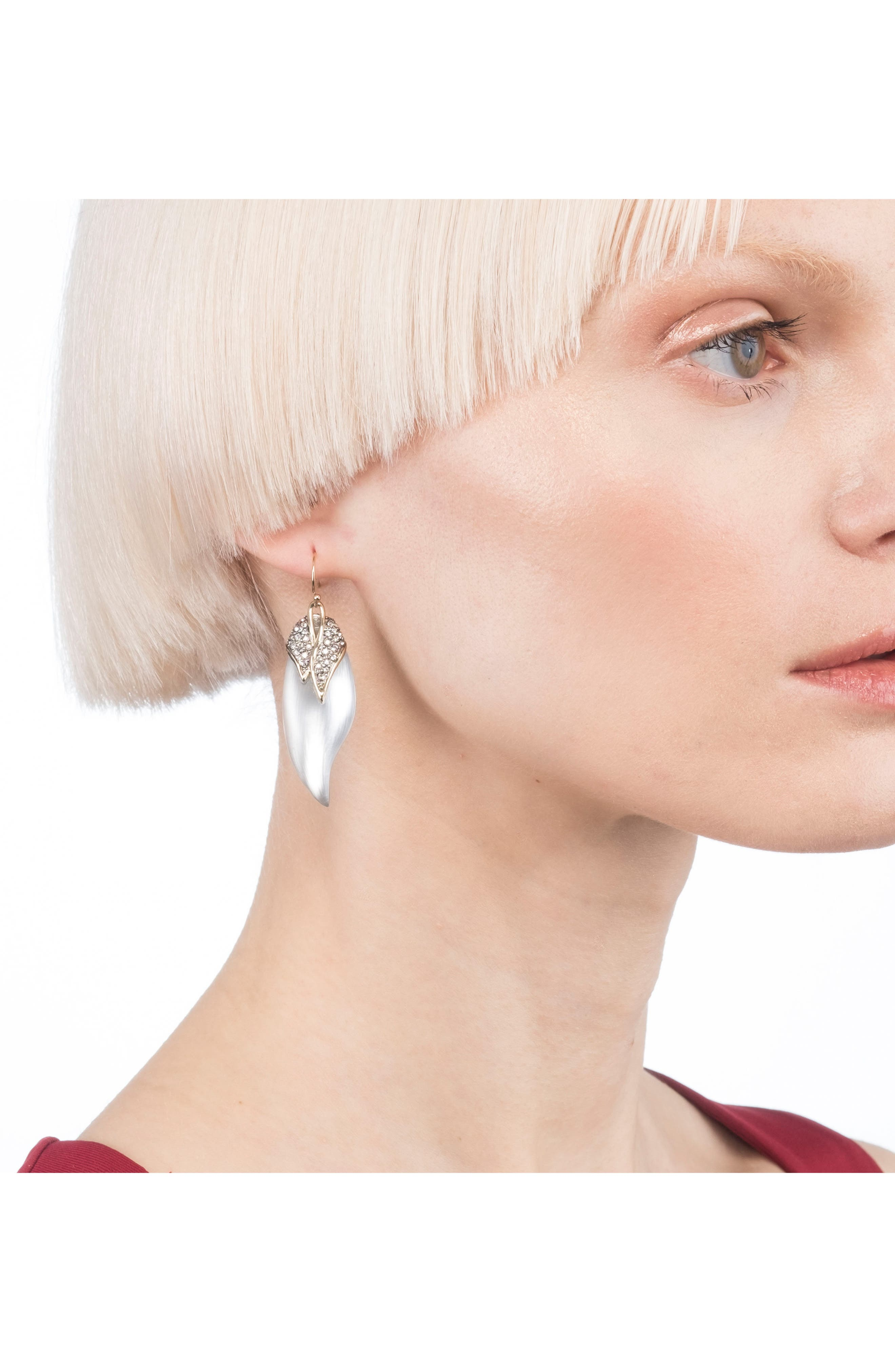 Crystal Encrusted Capped Feather Earrings,                             Alternate thumbnail 2, color,                             040