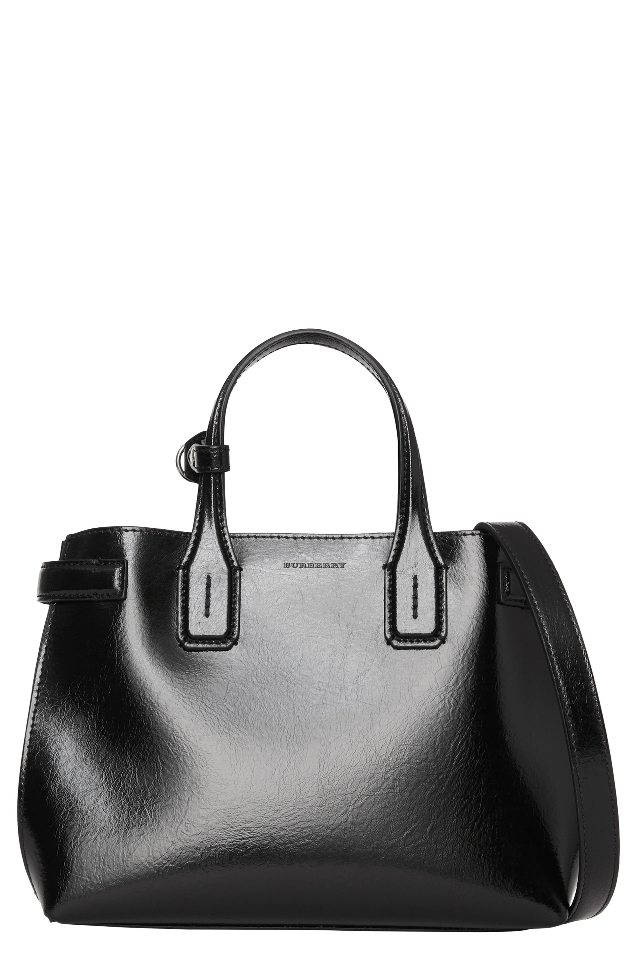 Small Banner Leather Tote, Main, color, BLACK