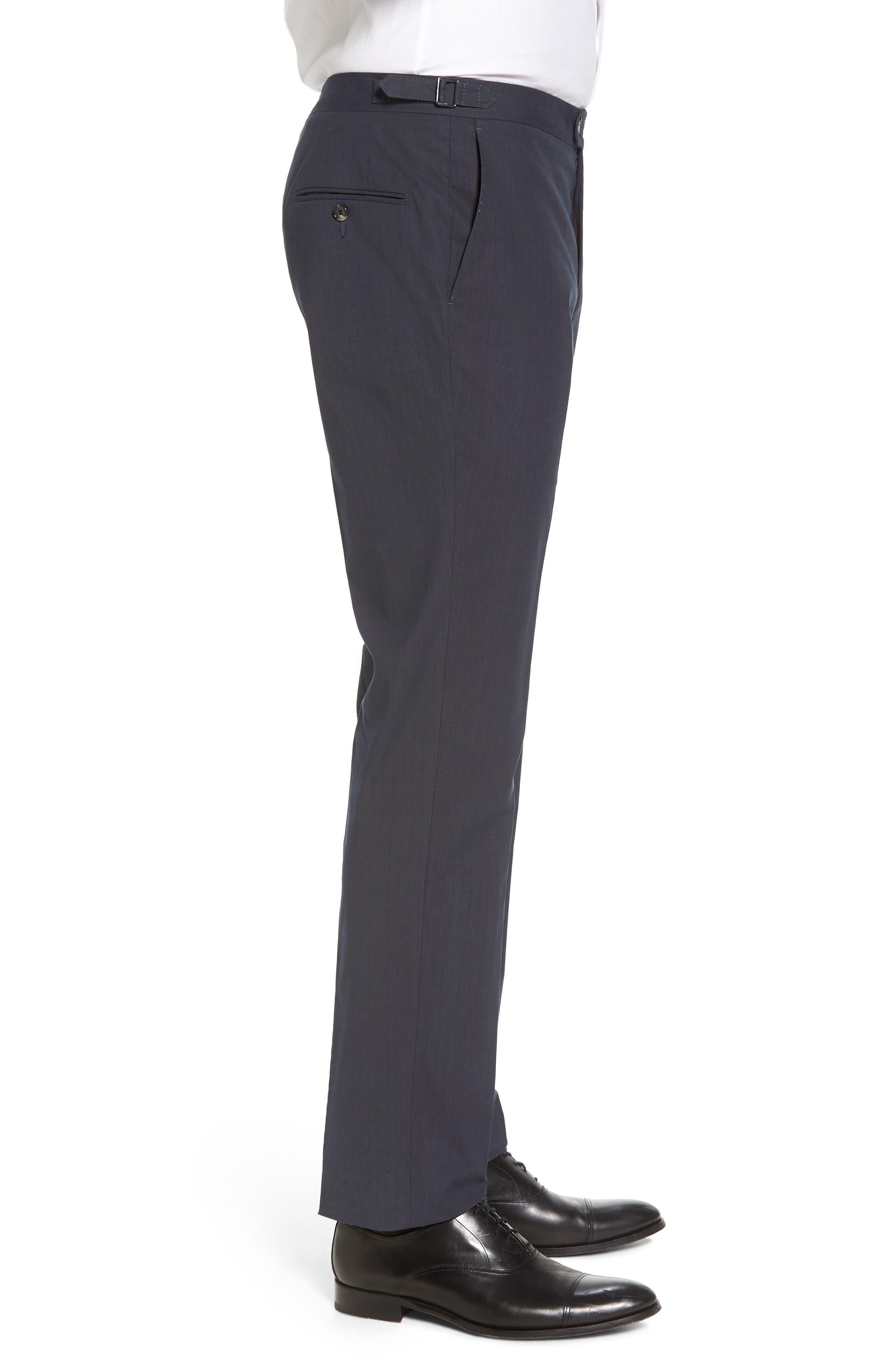 Flat Front Stripe Stretch Cotton Trousers,                             Alternate thumbnail 3, color,                             422
