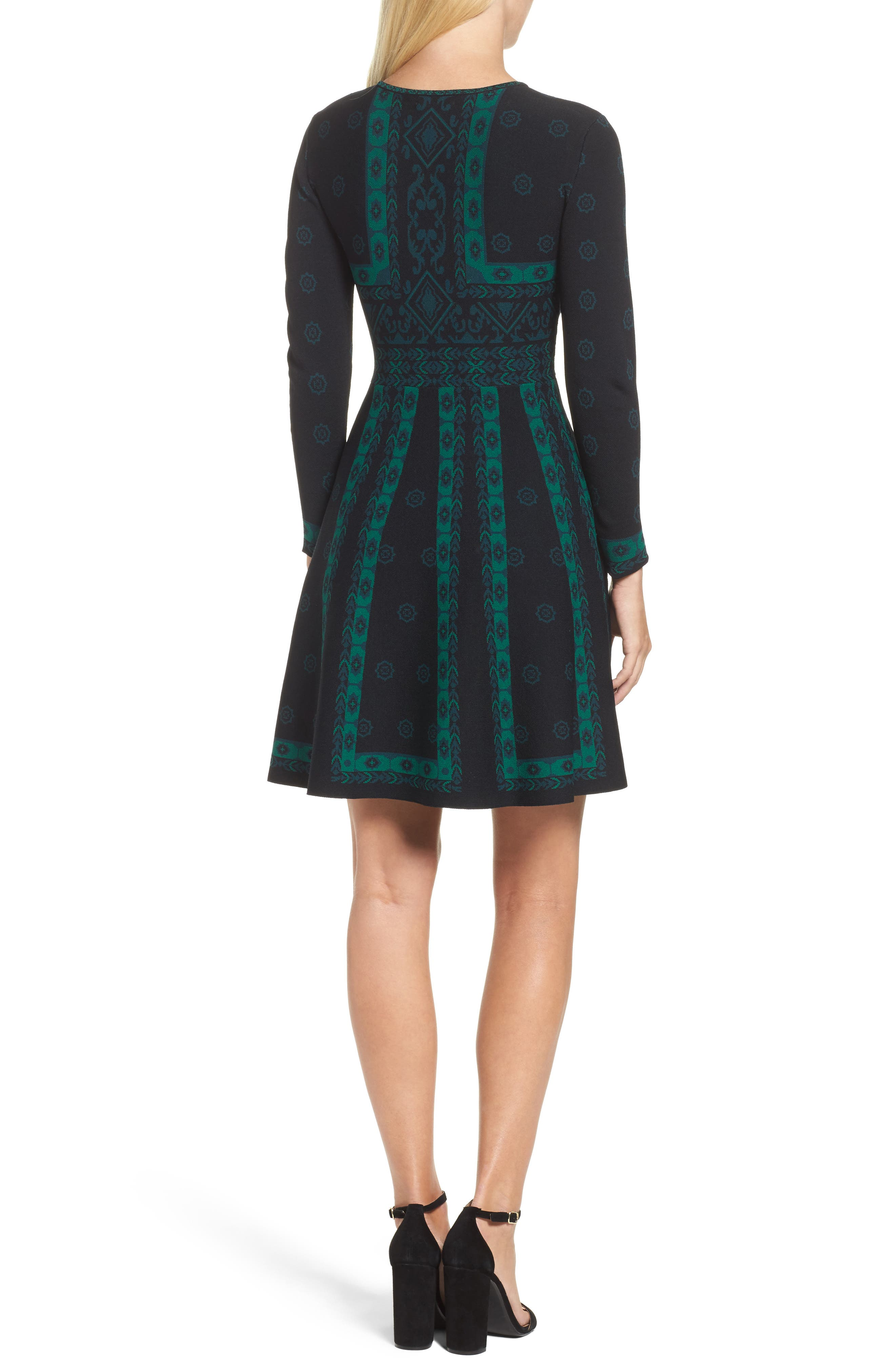 Pattern Double-Knit Fit & Flare Dress,                             Alternate thumbnail 2, color,                             396