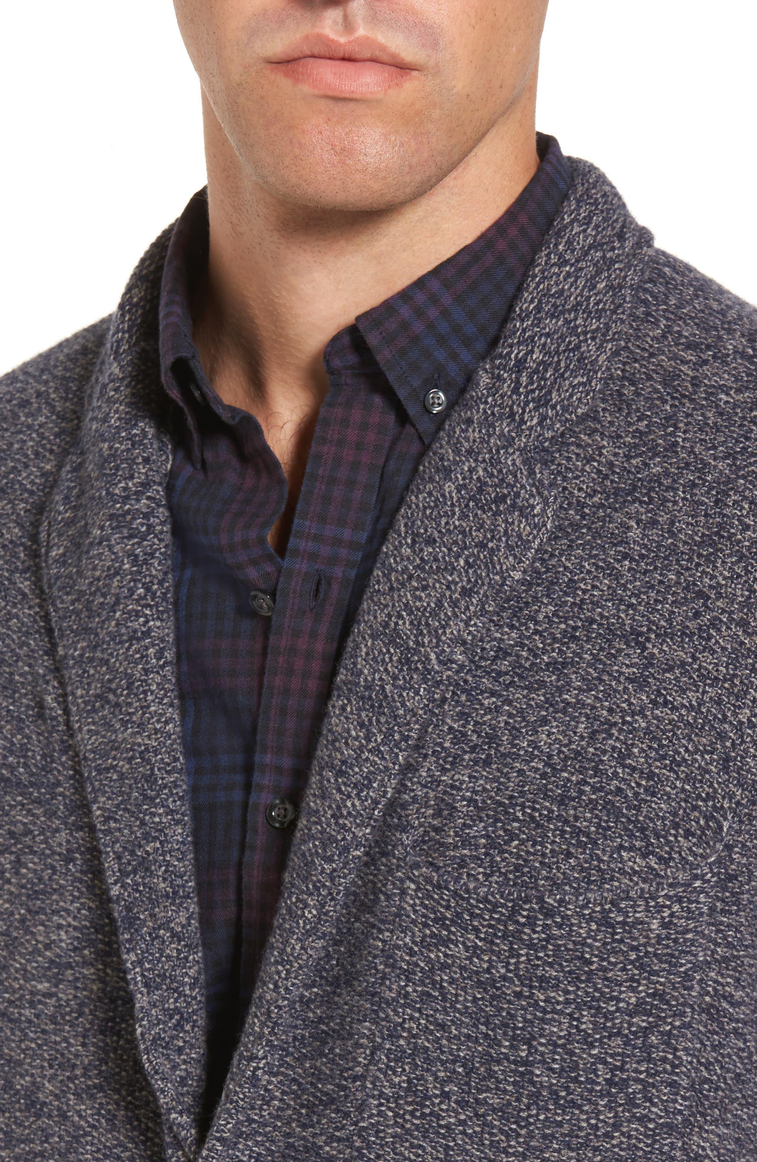 Deconstructed Merino & Yak Wool Sweater Jacket,                             Alternate thumbnail 4, color,                             416
