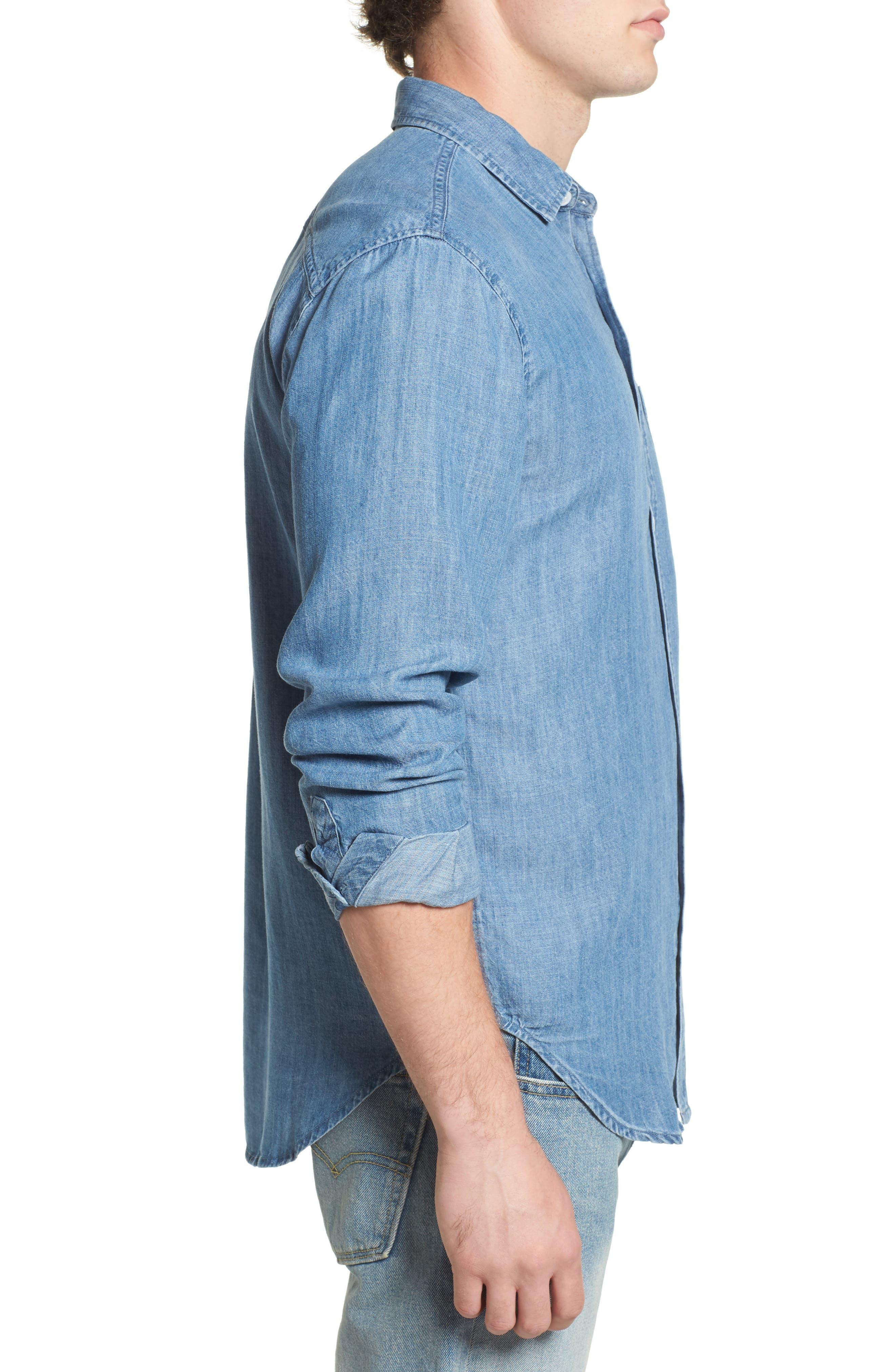 Colton Denim Shirt,                             Alternate thumbnail 3, color,                             MEDIUM VINTAGE WASH