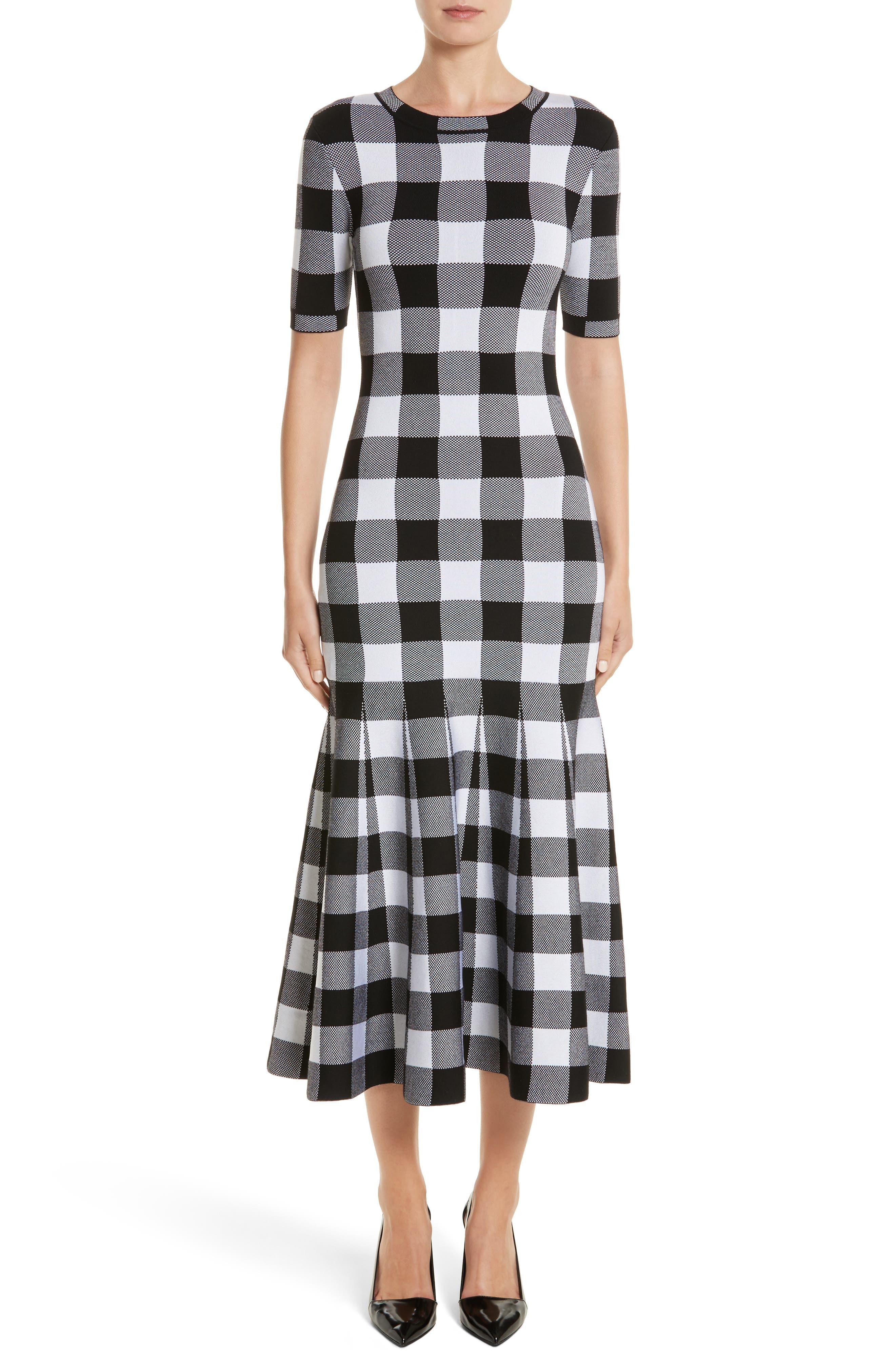 Buffalo Check Knit Flare Hem Dress,                             Main thumbnail 1, color,                             001