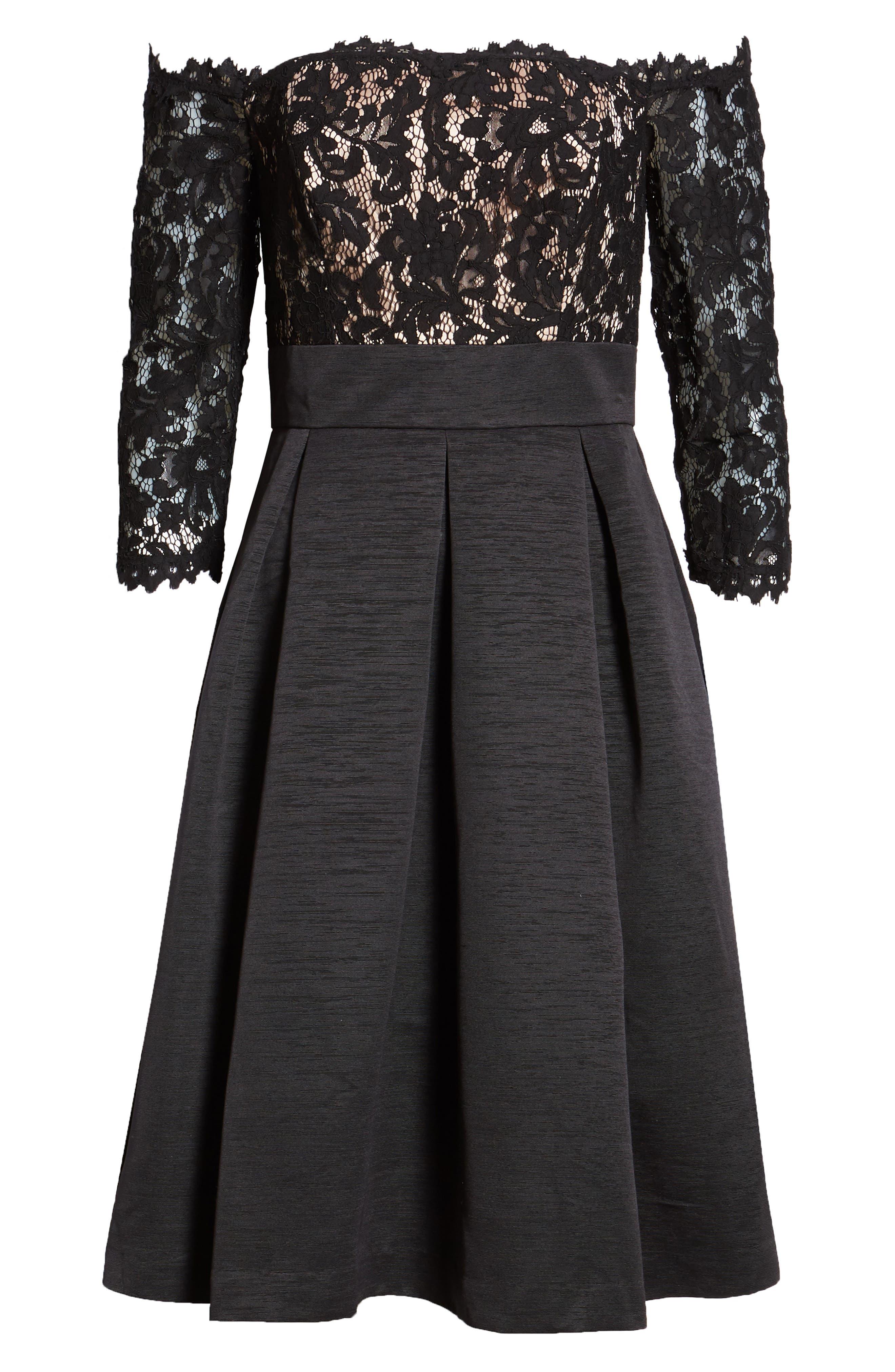 Off the Shoulder A-Line Dress,                             Alternate thumbnail 8, color,                             BLACK