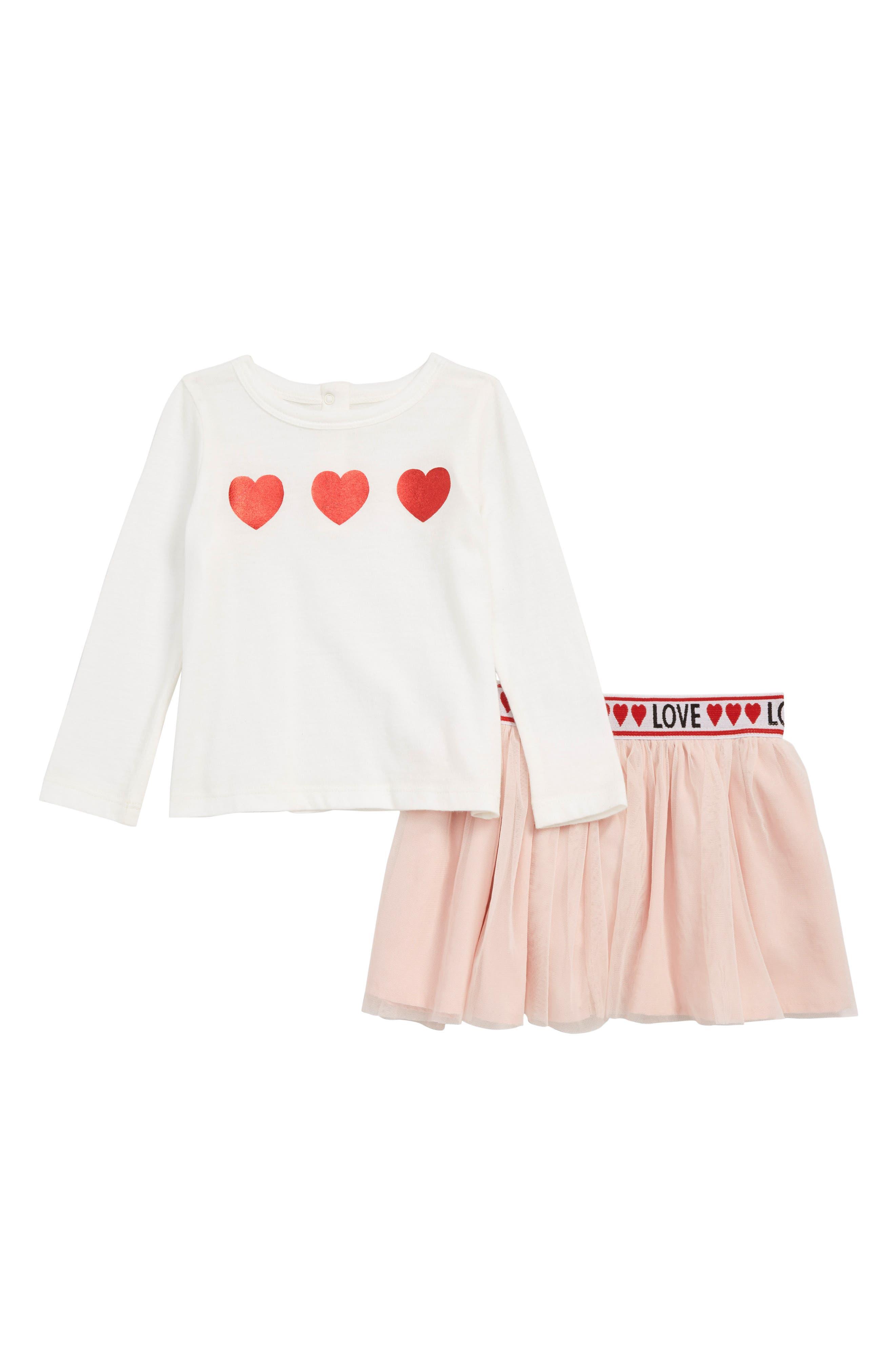 Glitter Heart T-Shirt & Tulle Skirt Set, Main, color, IVORY EGRET SPARKLE HEART