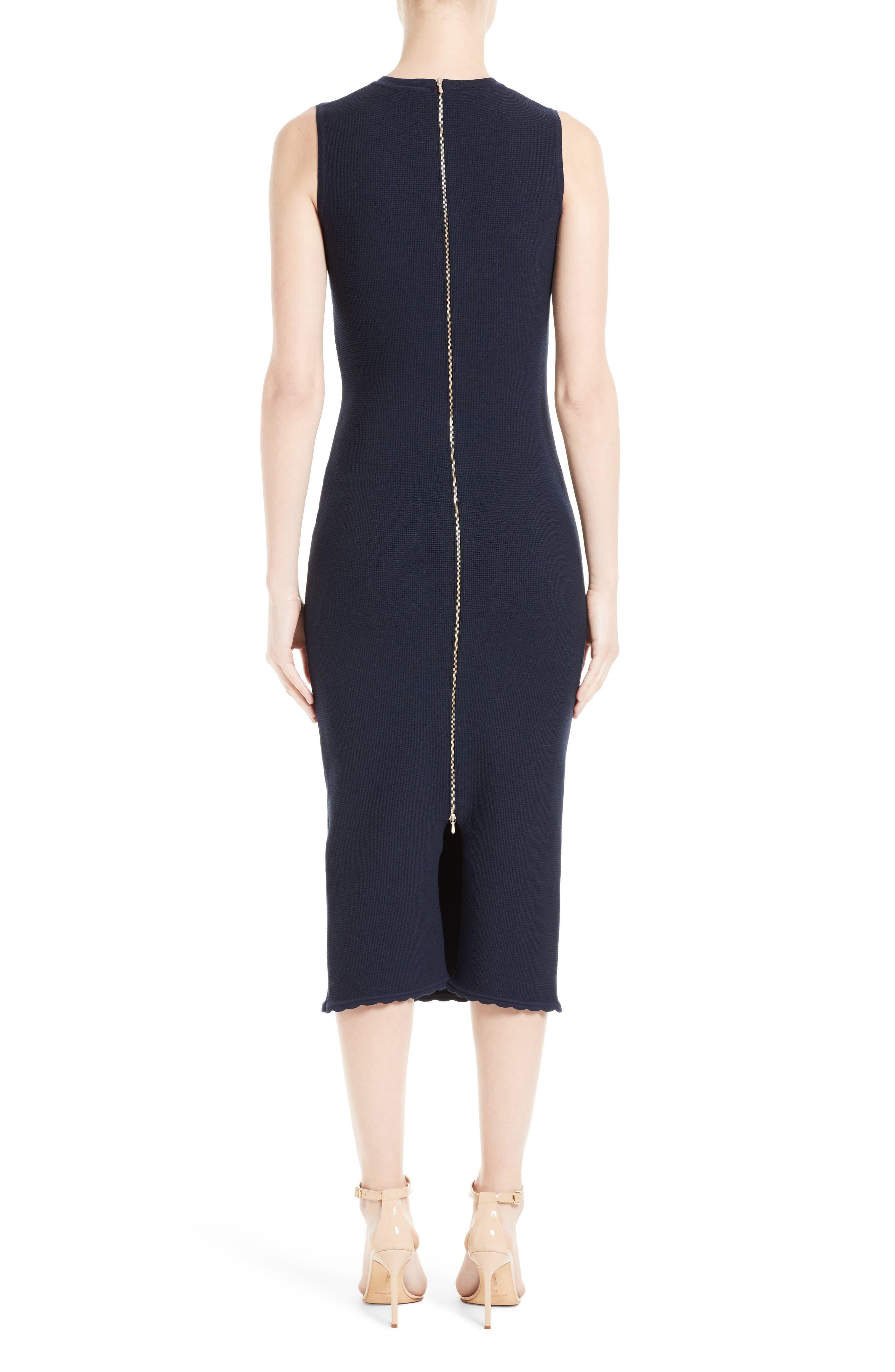Wool Blend Knit Scallop Dress,                             Alternate thumbnail 2, color,                             400
