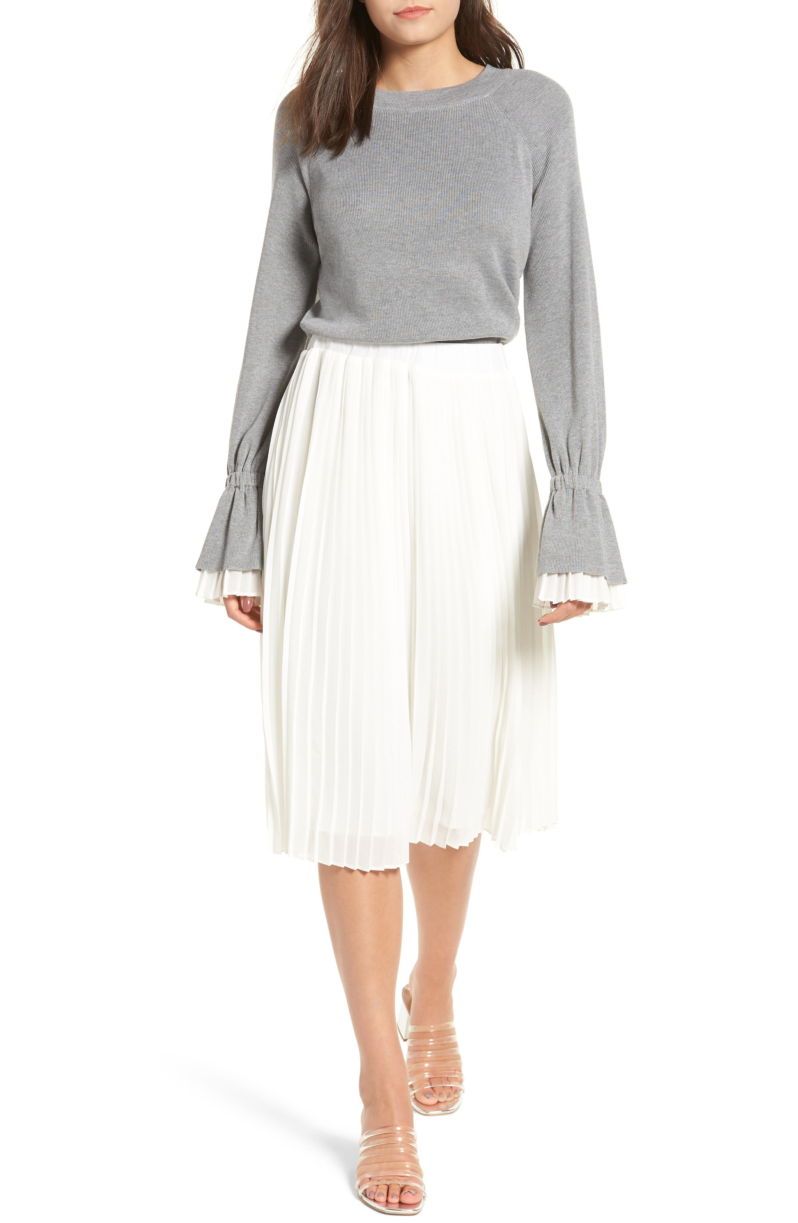 Sweater Combo Dress in White