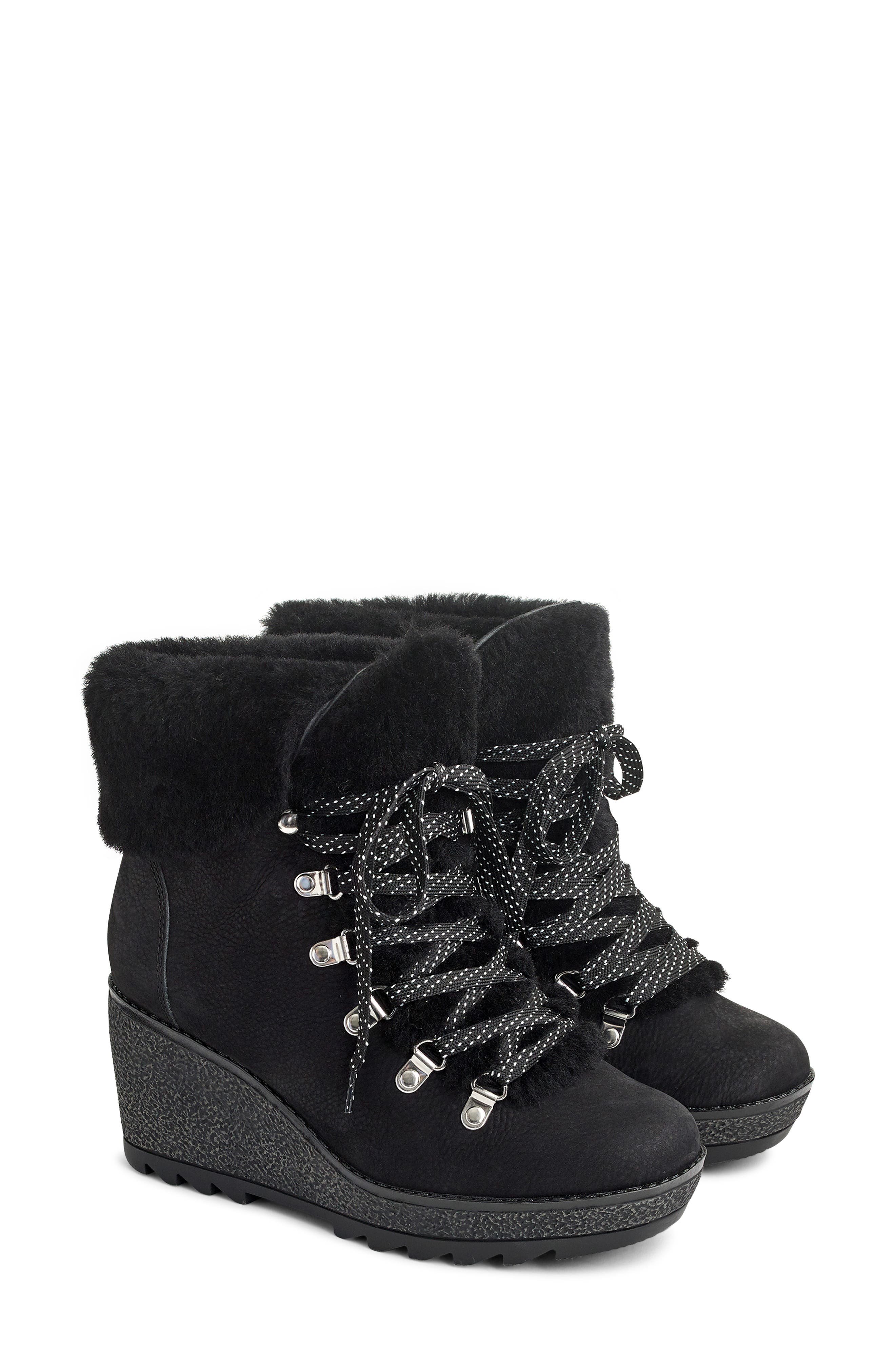 Nordic Wedge Bootie,                             Main thumbnail 1, color,                             BLACK LEATHER