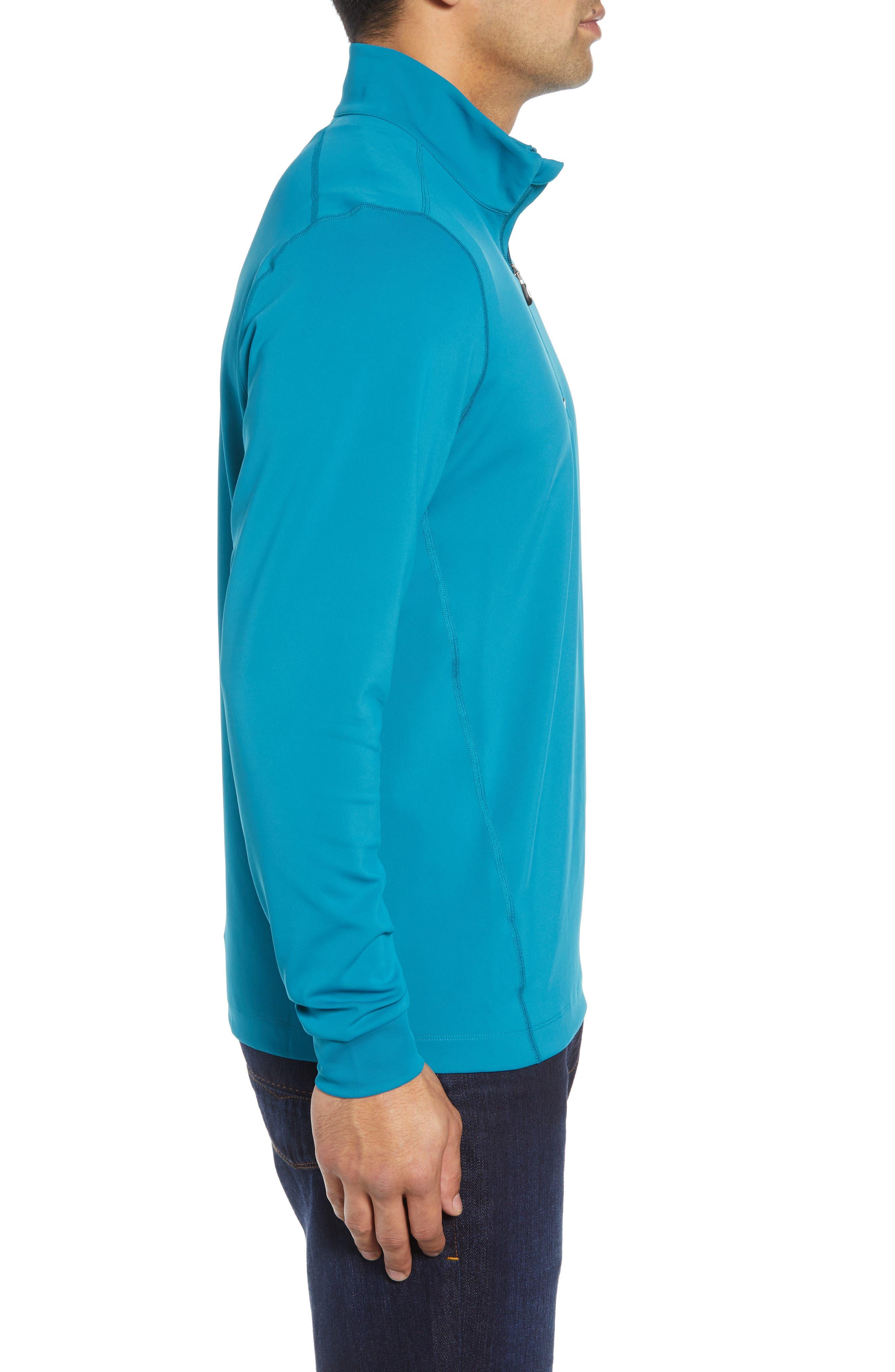 Traverse Regular Fit Quarter Zip Pullover,                             Alternate thumbnail 3, color,                             TEAL BLUE