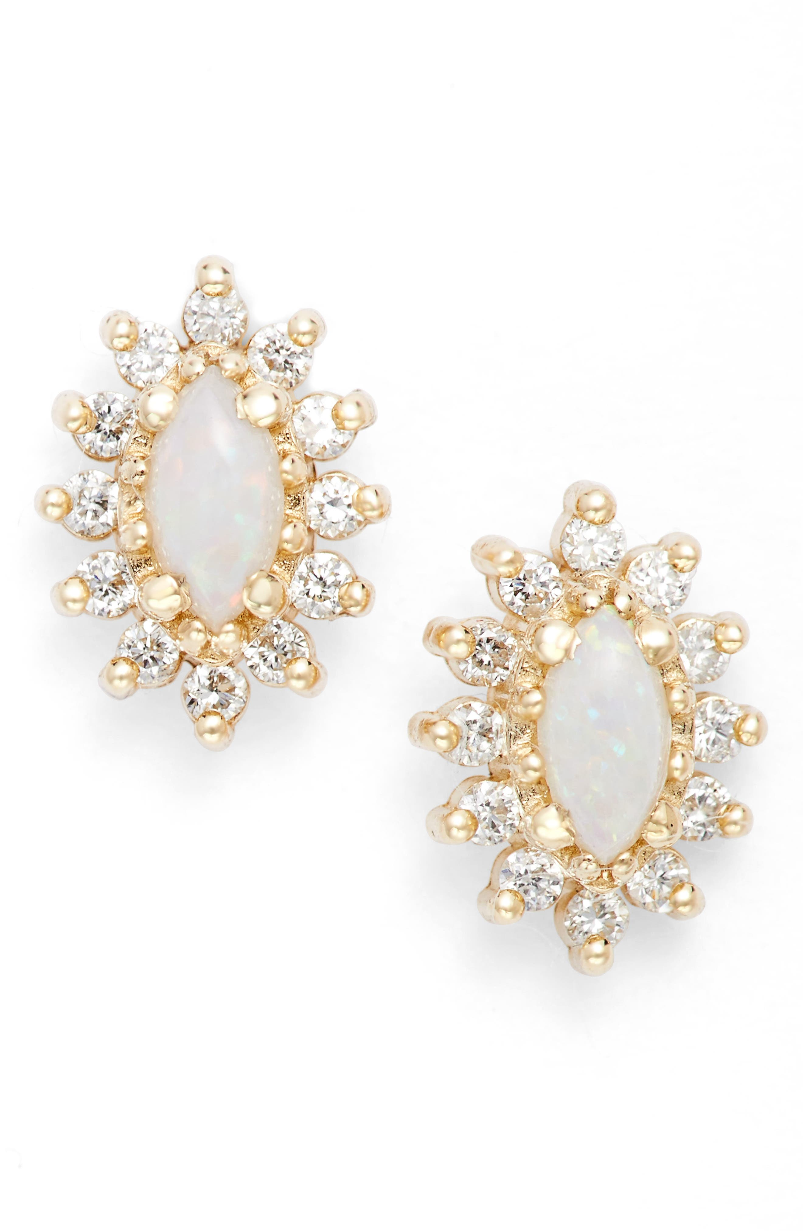 Zoe Chicco Diamond & Opal Cluster Stud Earrings (Nordstrom Exclusive)
