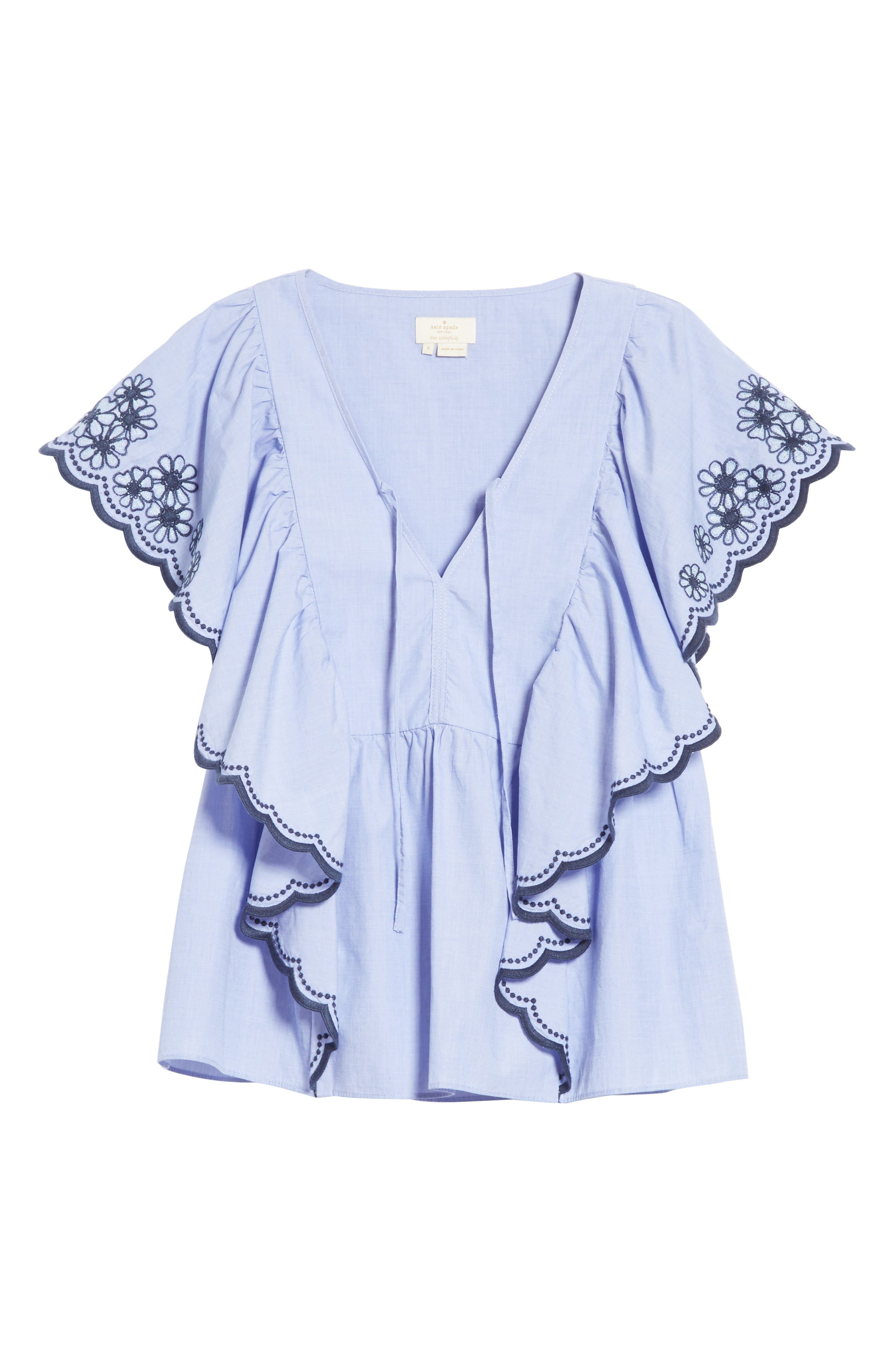 daisy embroidered cotton top,                             Alternate thumbnail 6, color,                             497
