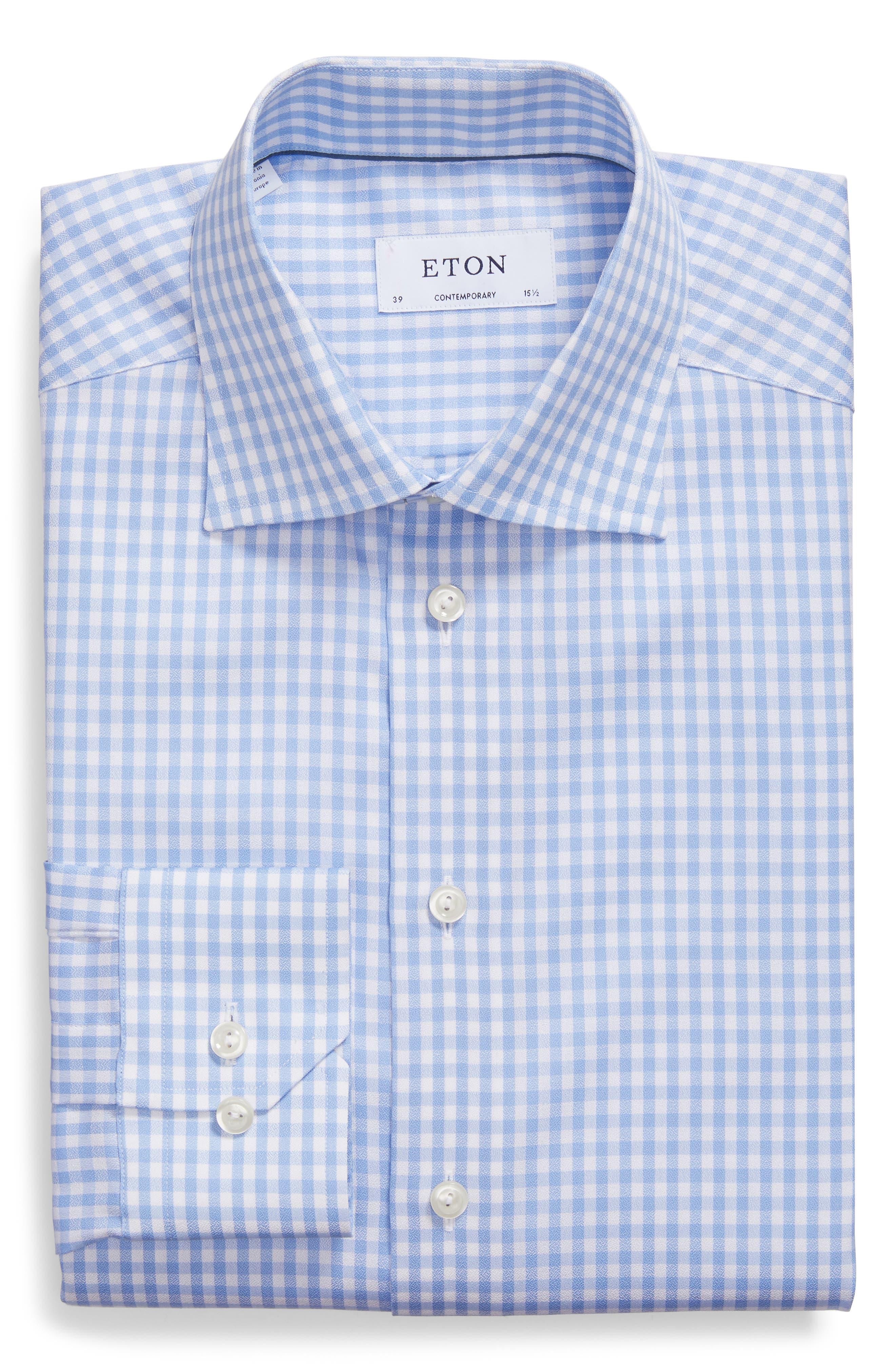 Contemporary Fit Check Dress Shirt,                             Alternate thumbnail 5, color,                             BLUE