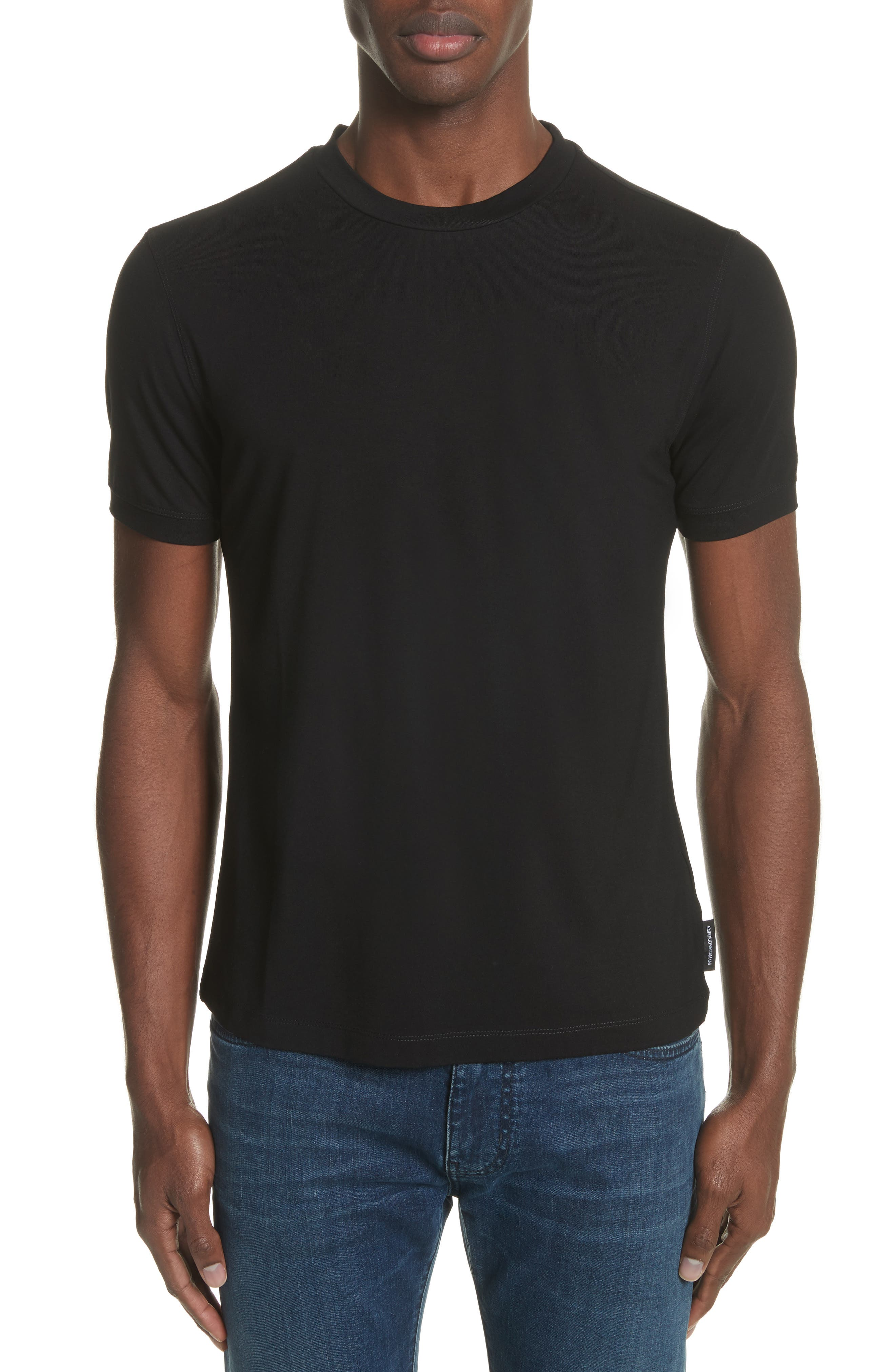 Slim Fit Stretch Crewneck T-Shirt,                             Main thumbnail 1, color,                             SOLID BLACK
