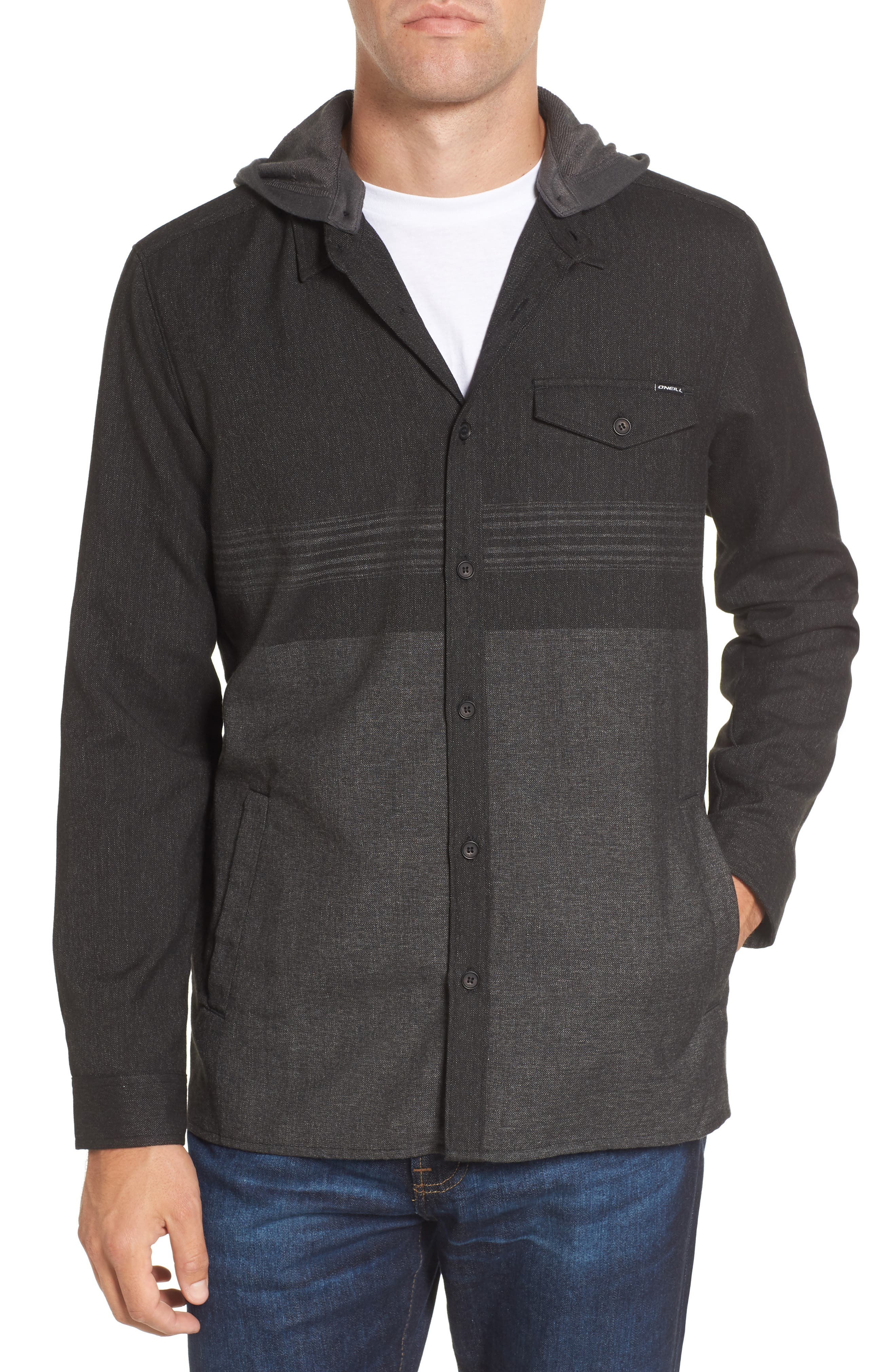 Jacinto Hooded Flannel Shirt,                         Main,                         color, 001
