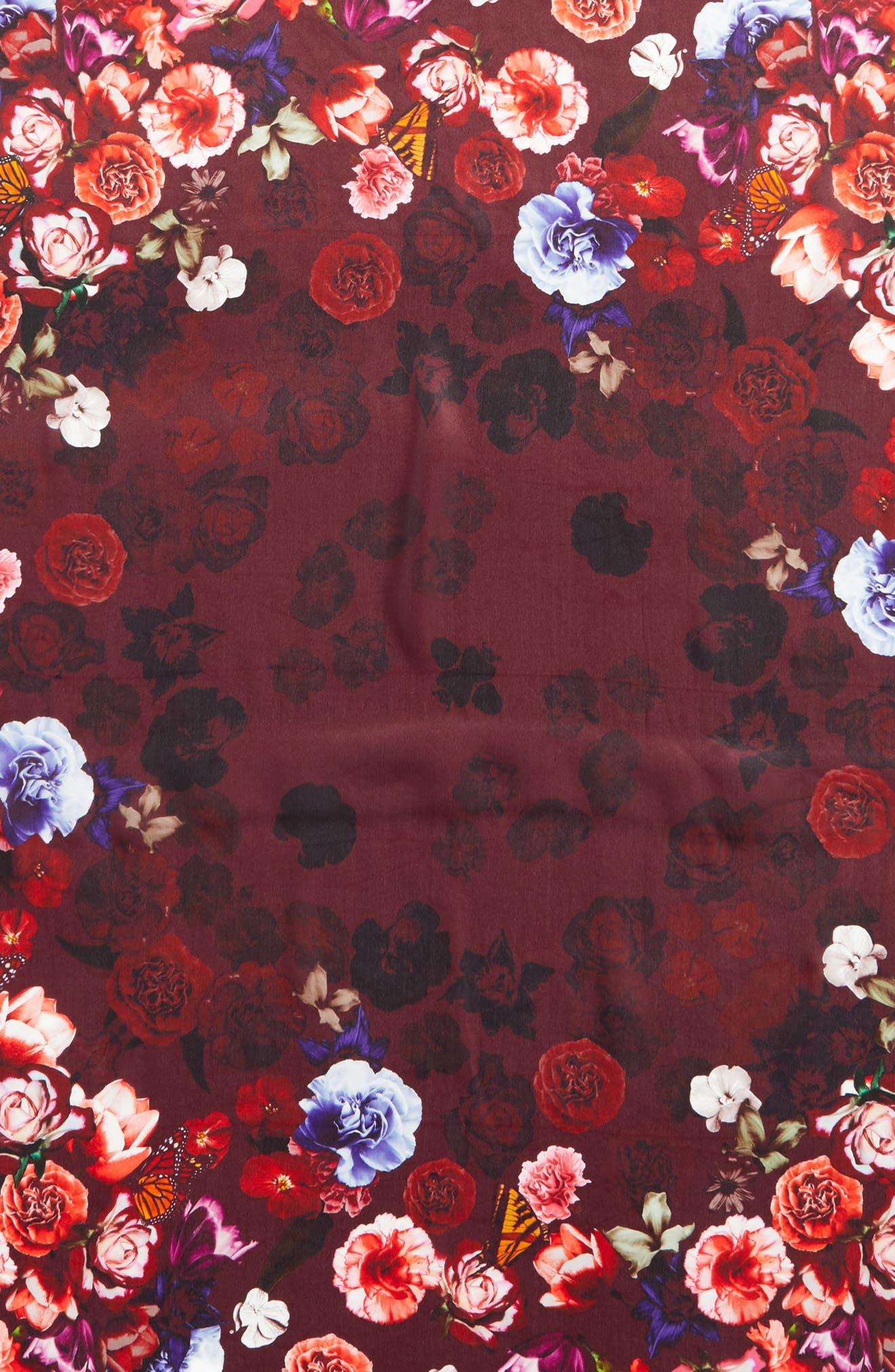 Floral Gem Square Silk Scarf,                             Alternate thumbnail 4, color,                             001
