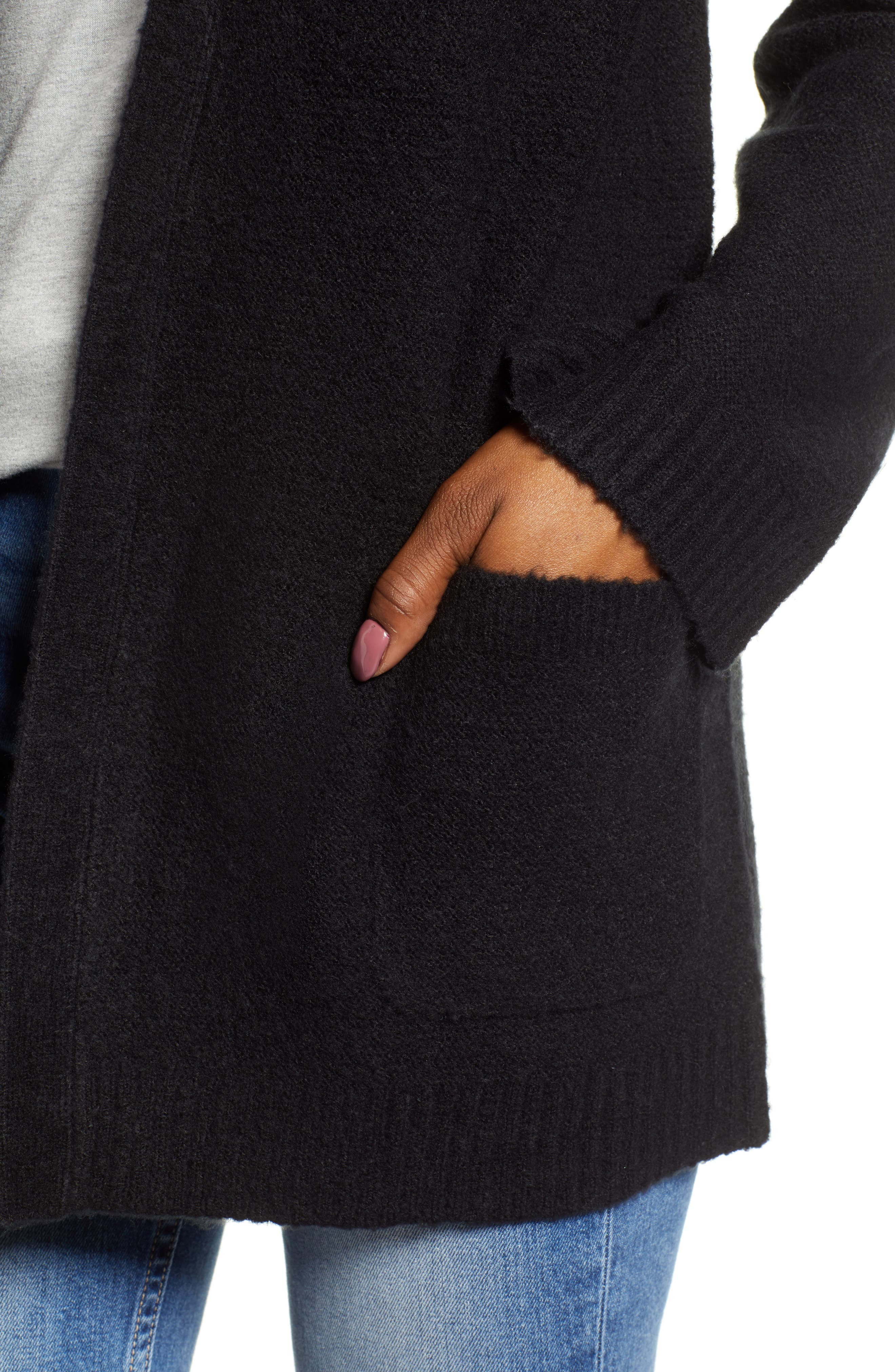 CASLON<SUP>®</SUP>,                             Chunky Stitch Cardigan,                             Alternate thumbnail 4, color,                             BLACK