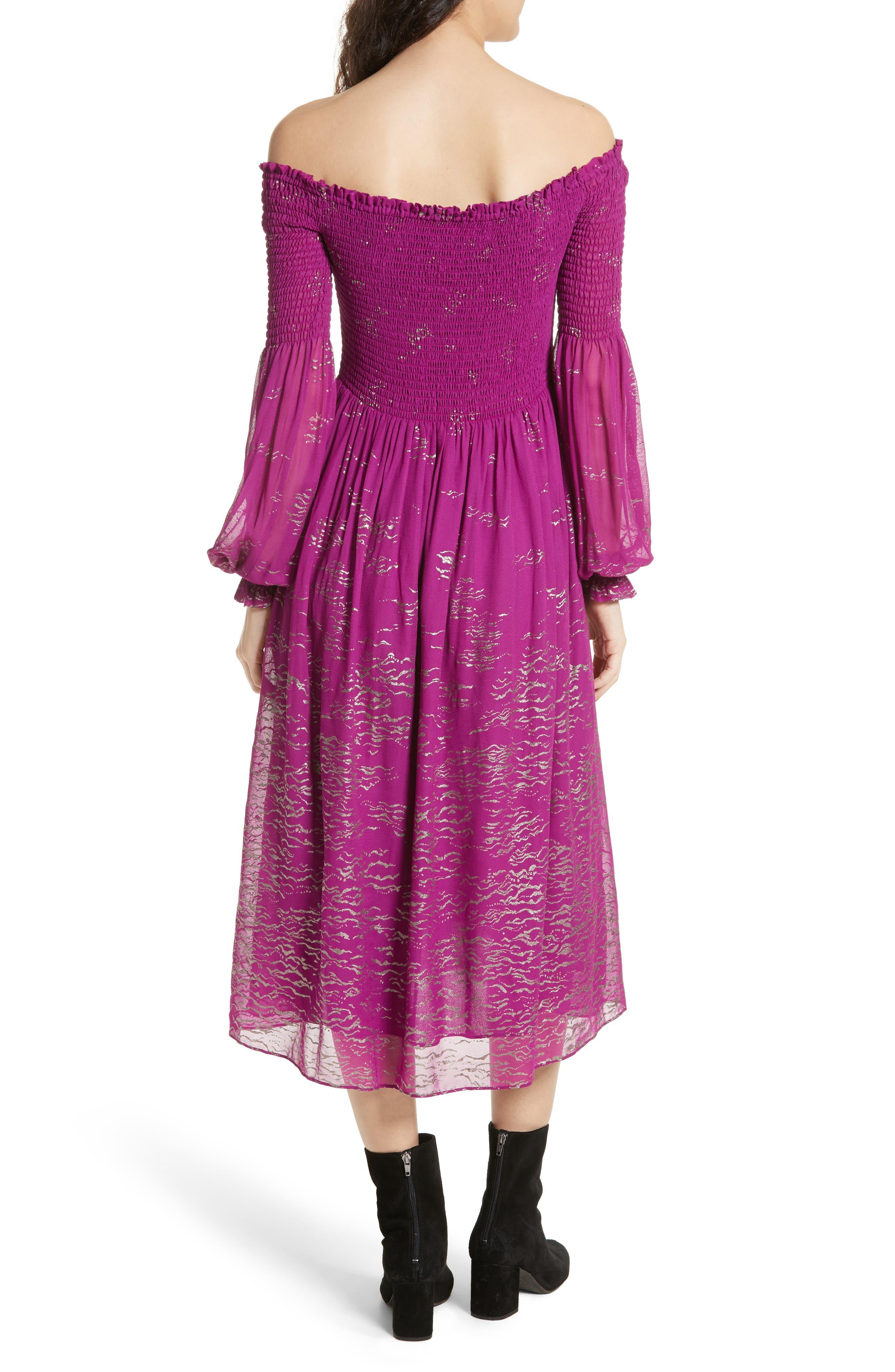 Foiled Smocked Midi Dress,                             Alternate thumbnail 4, color,