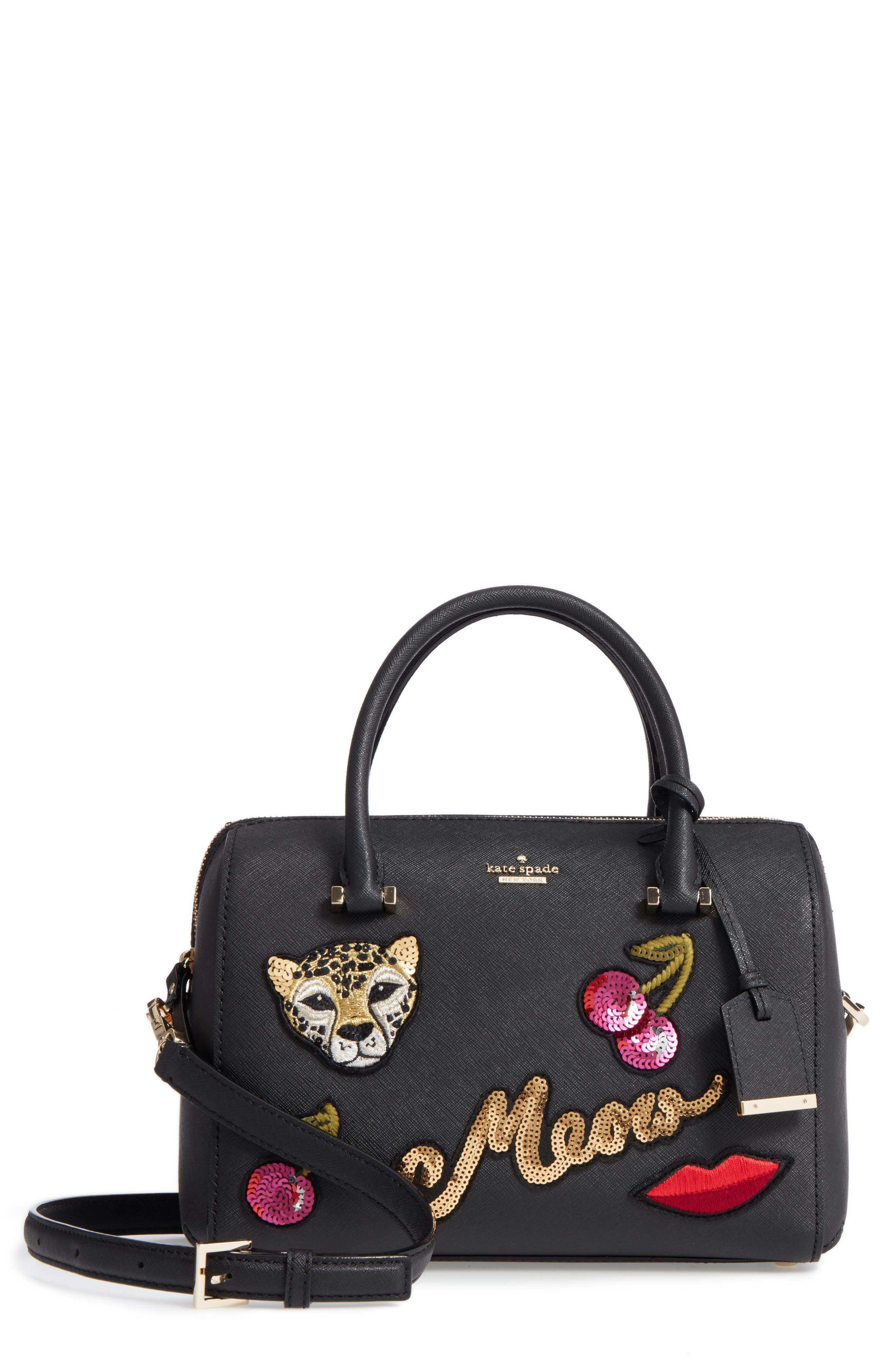 large lane - ma cherie leather satchel,                         Main,                         color, 001