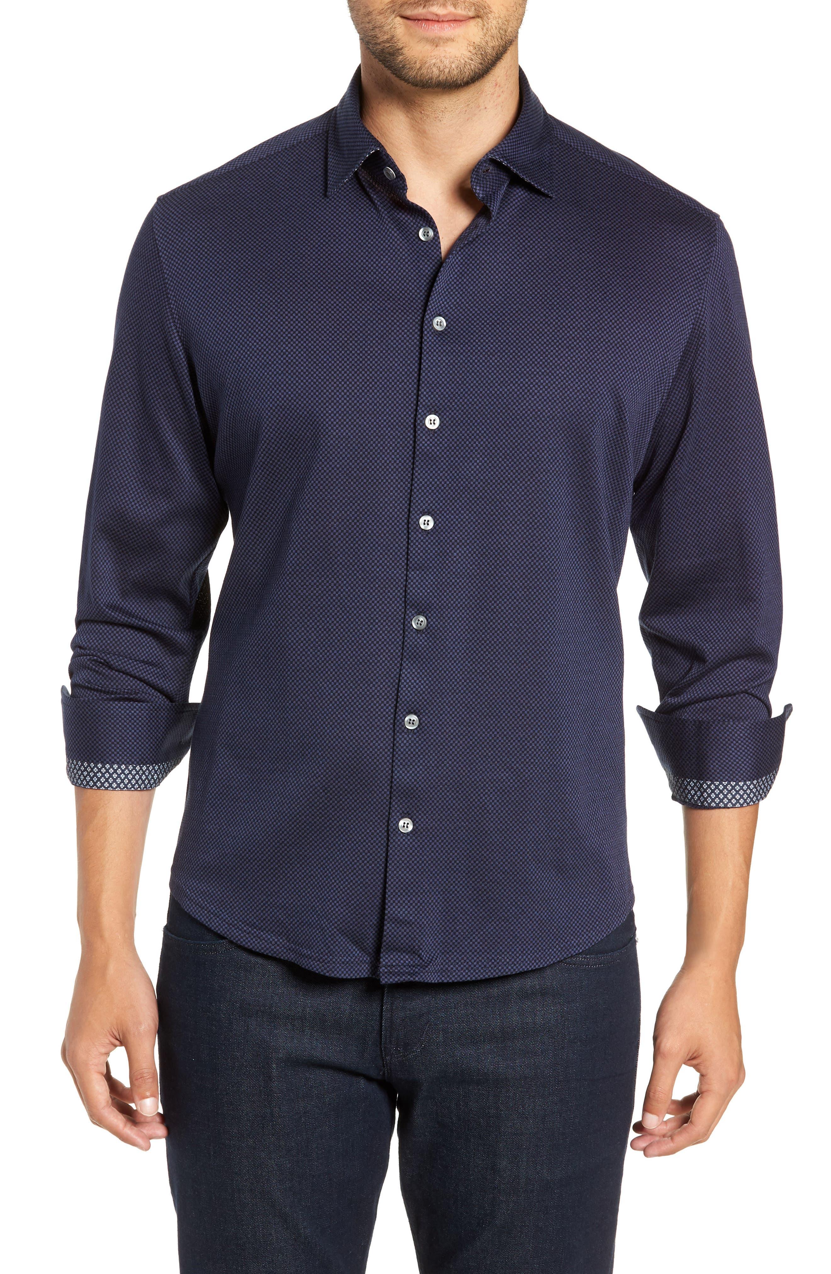 STONE ROSE Trim Fit Knit Sport Shirt, Main, color, 410