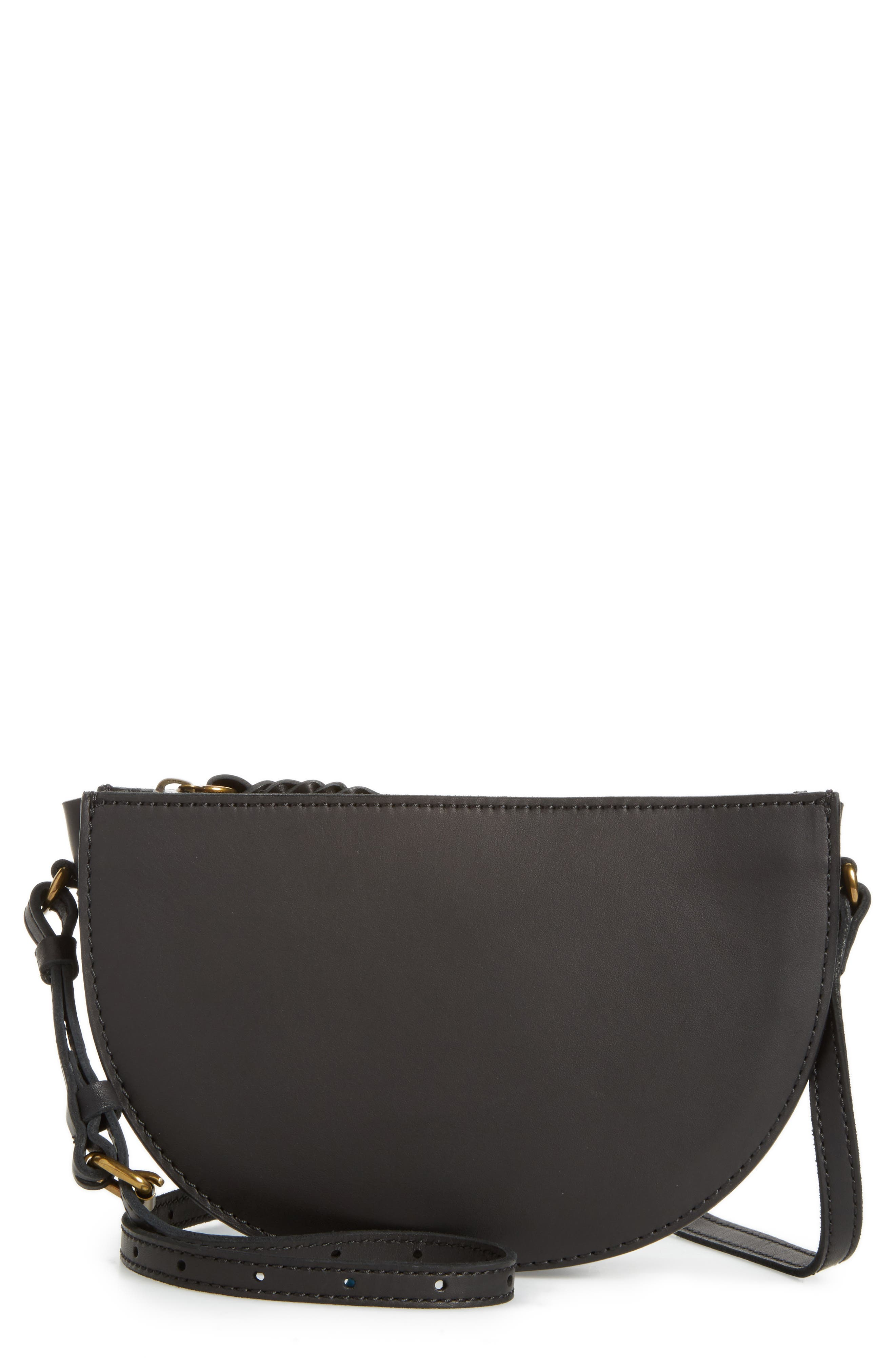 Juniper Vachetta Leather Half Moon Crossbody Bag,                             Main thumbnail 1, color,                             001