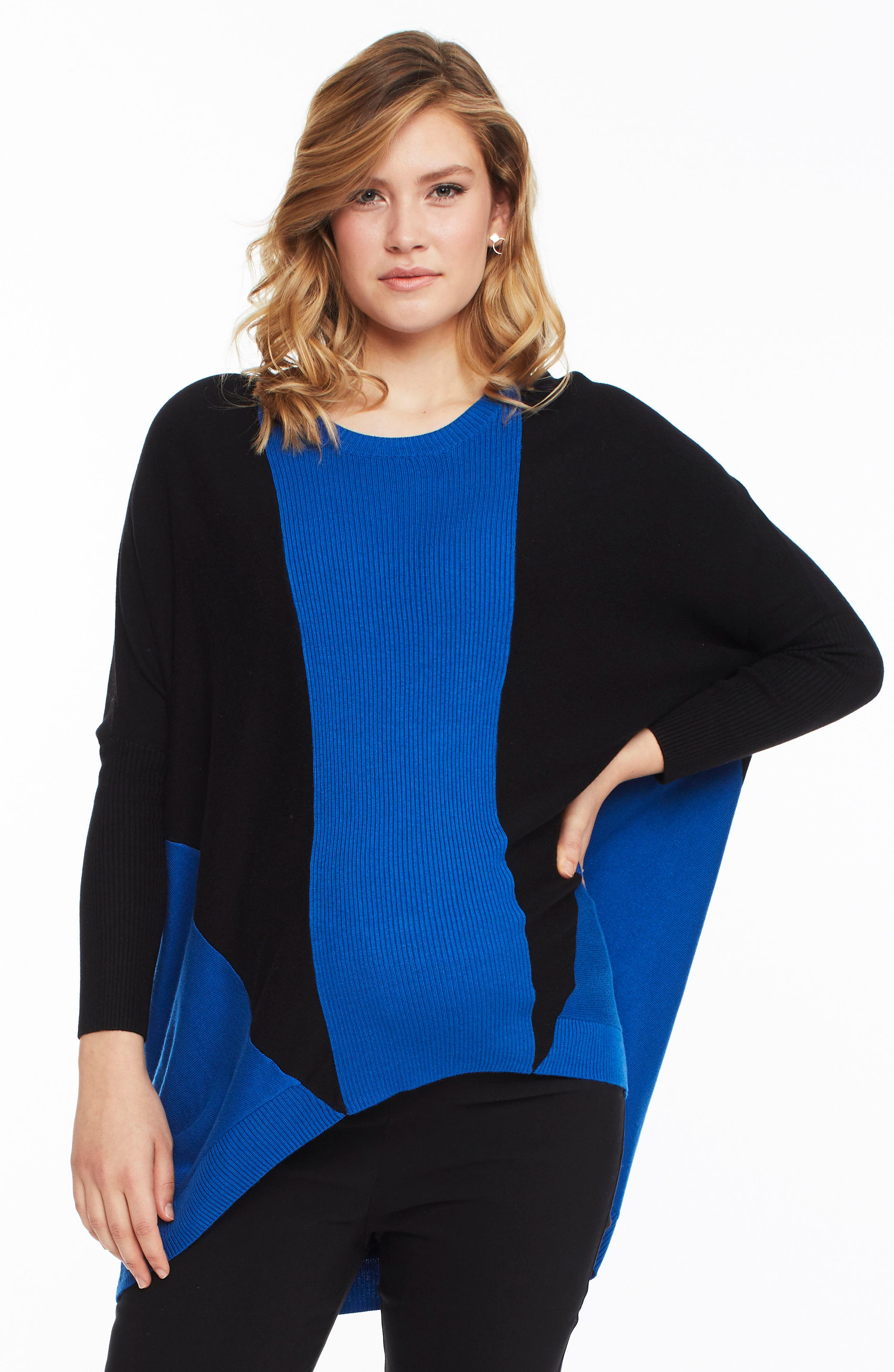 Hazel Colorblock Maternity Sweater,                             Alternate thumbnail 3, color,                             INDIGO / BLACK