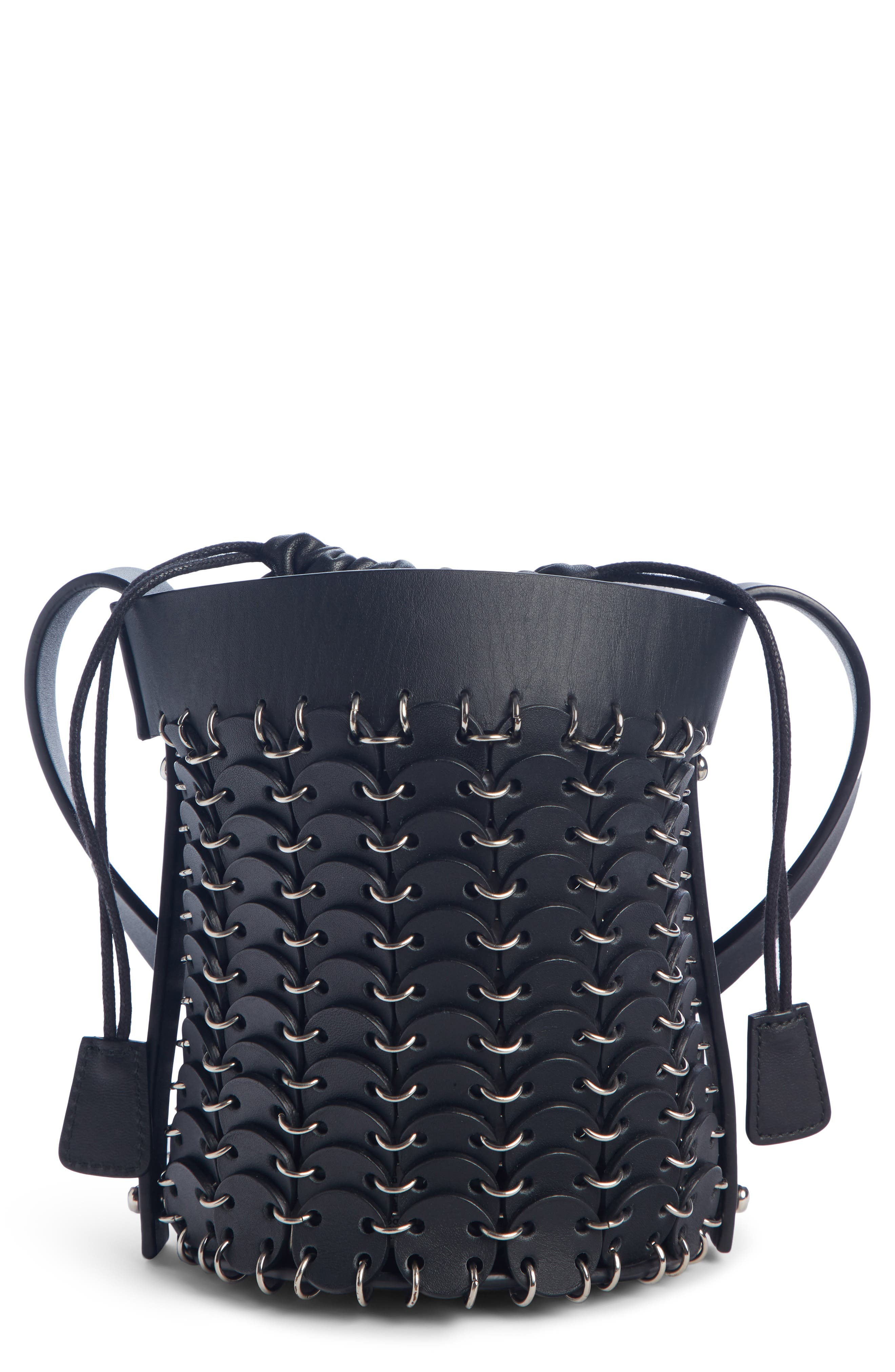PACO RABANNE,                             Mini Calfskin Bucket Bag,                             Main thumbnail 1, color,                             BLACK