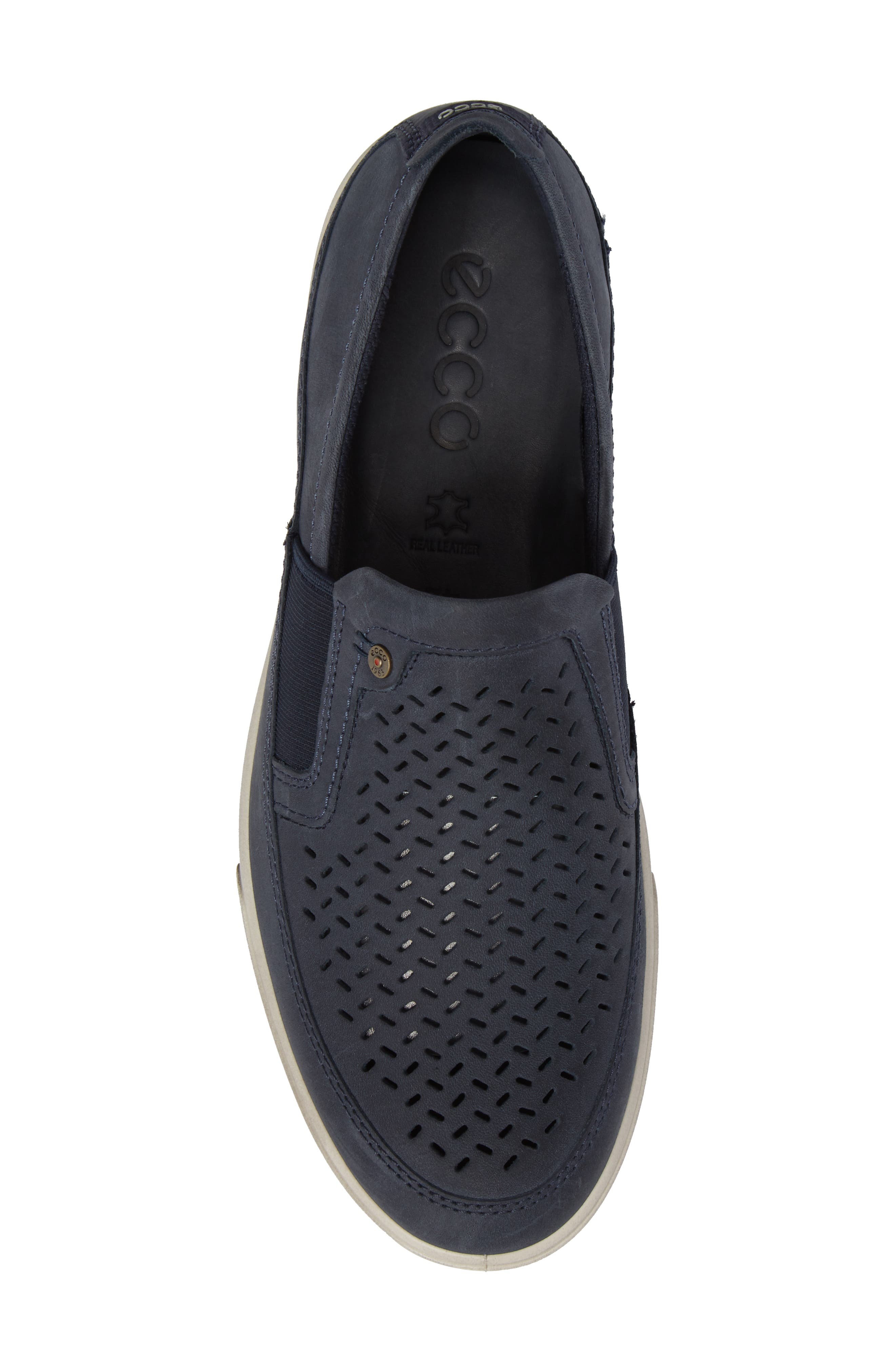 'Collin' Perforated Slip On Sneaker,                             Alternate thumbnail 5, color,                             MARINE LEATHER