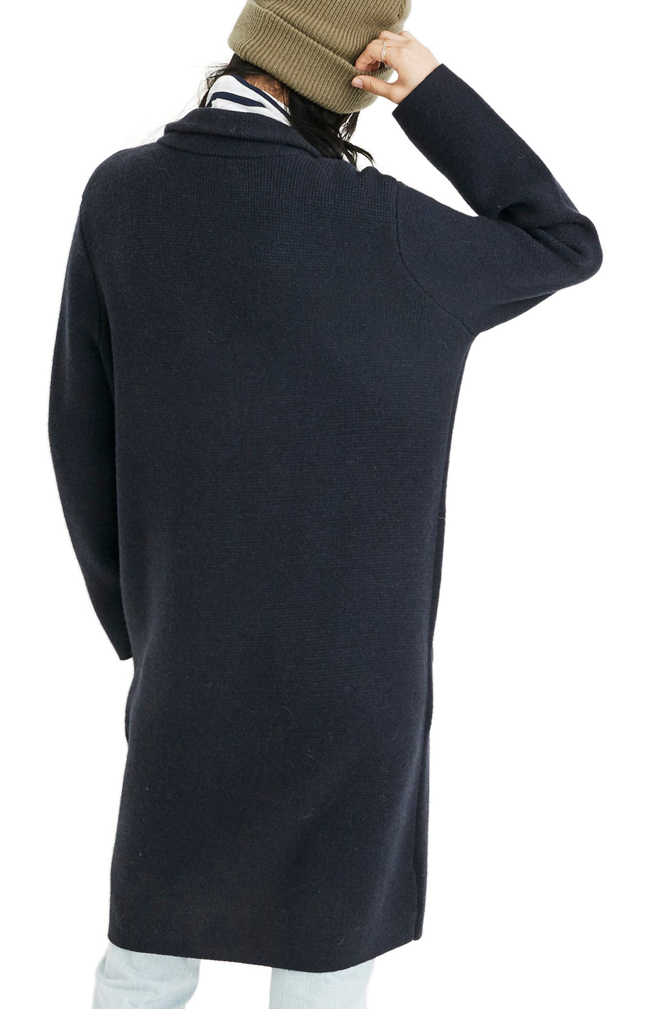 Double Breasted Sweater Coat,                             Alternate thumbnail 3, color,                             NAUTICAL BLACK