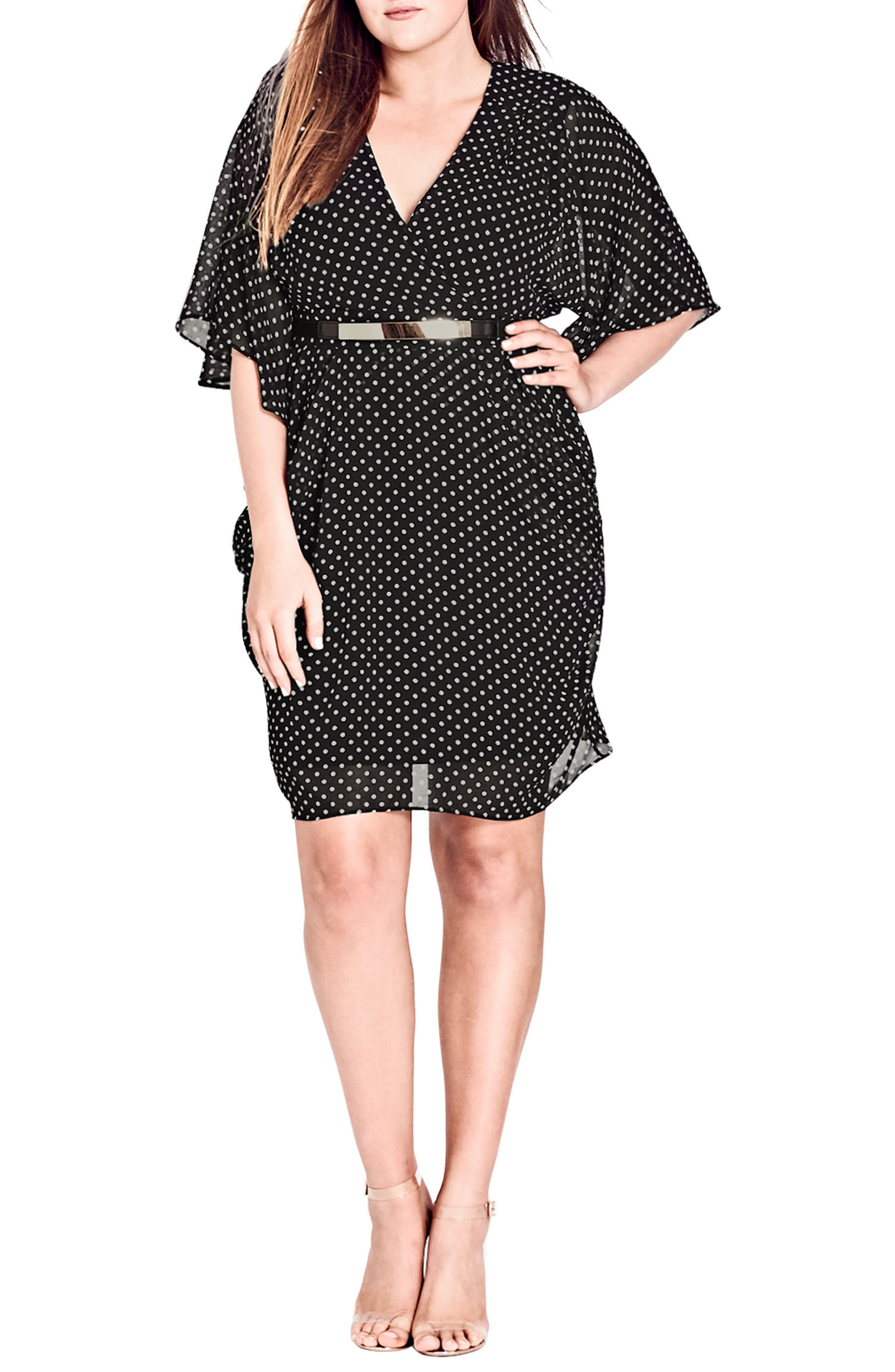 Polka Dot Faux Wrap Dress,                             Alternate thumbnail 4, color,                             PIN SPOT