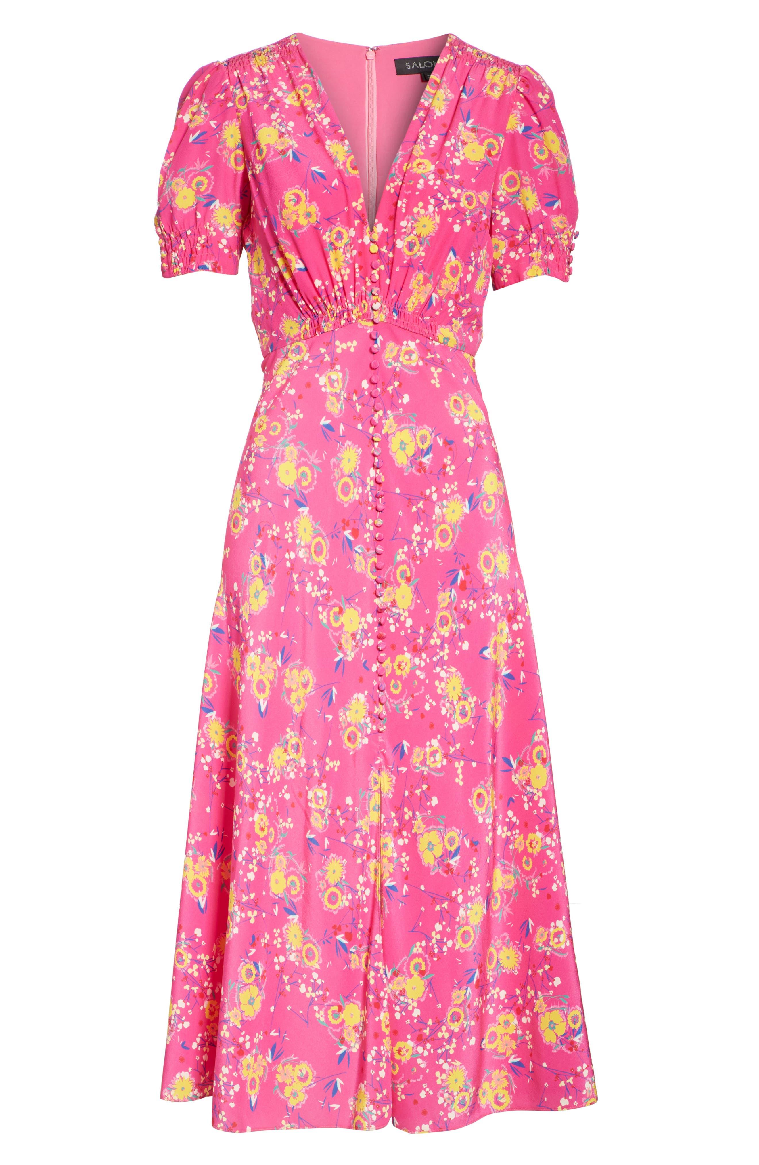 Lea Silk Midi Dress,                             Alternate thumbnail 6, color,                             SHOCKING PINK PIMPEMELL