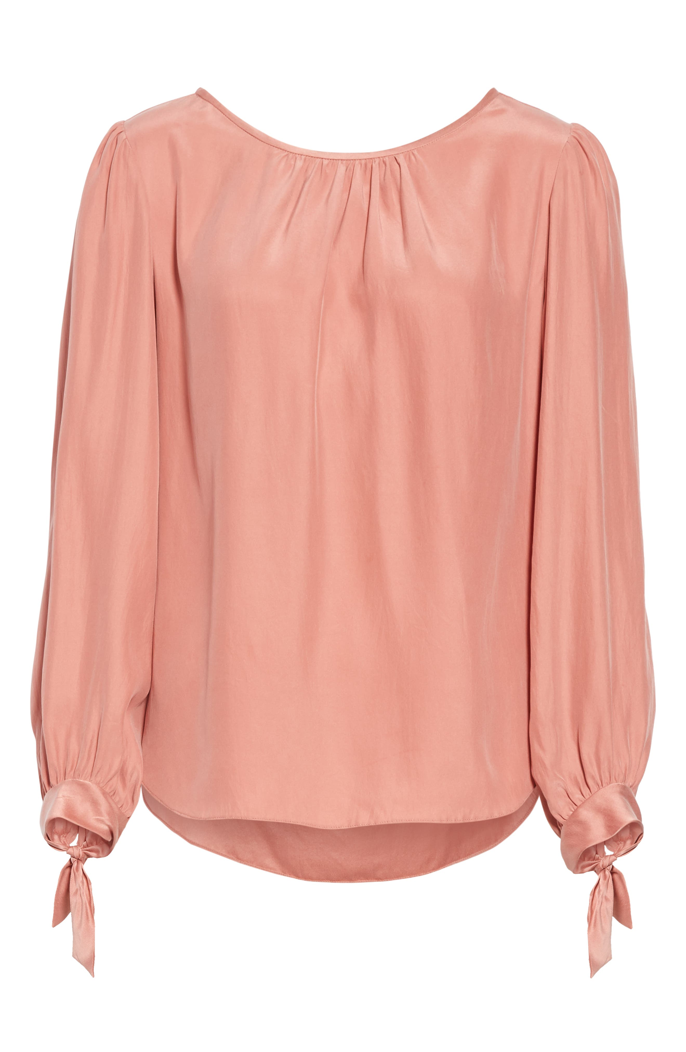 TAILORED BY REBECCA TAYLOR,                             Sleeve Tie Silk Charmeuse Top,                             Alternate thumbnail 6, color,                             LIPGLOSS