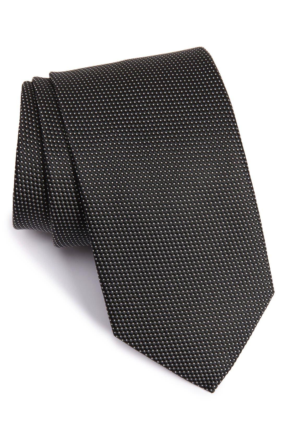 Microdot Silk Tie,                         Main,                         color, BLACK
