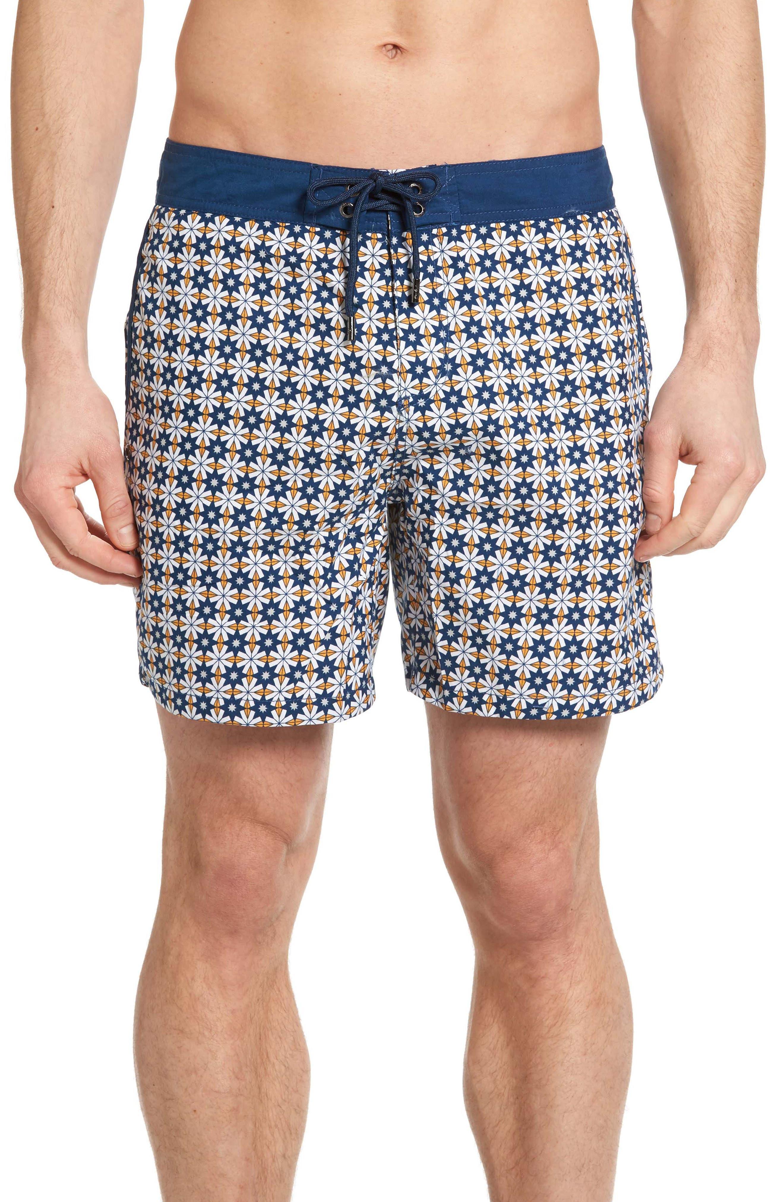 Star Tile Print Board Shorts,                             Main thumbnail 1, color,                             440