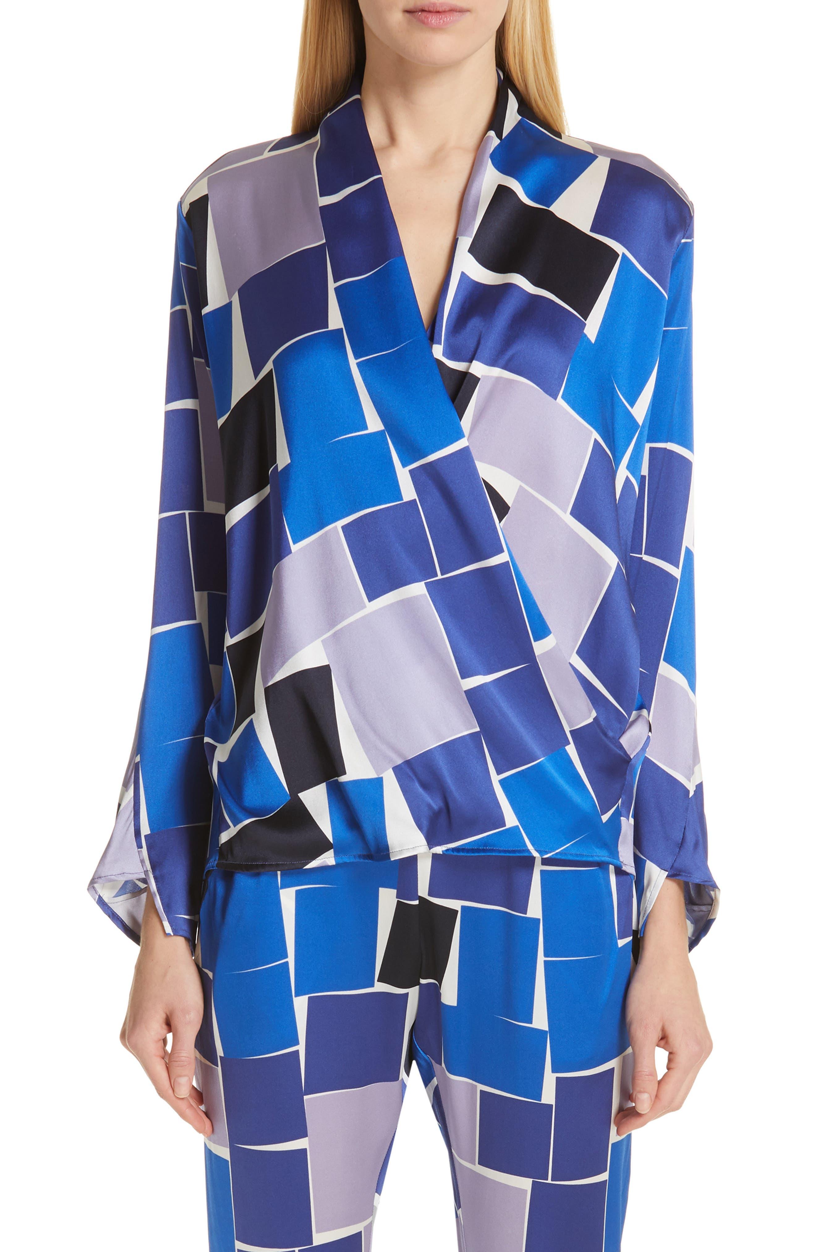 ZERO + MARIA CORNEJO Jazmin Print Stretch Silk Shirt, Main, color, DUSK MULTI