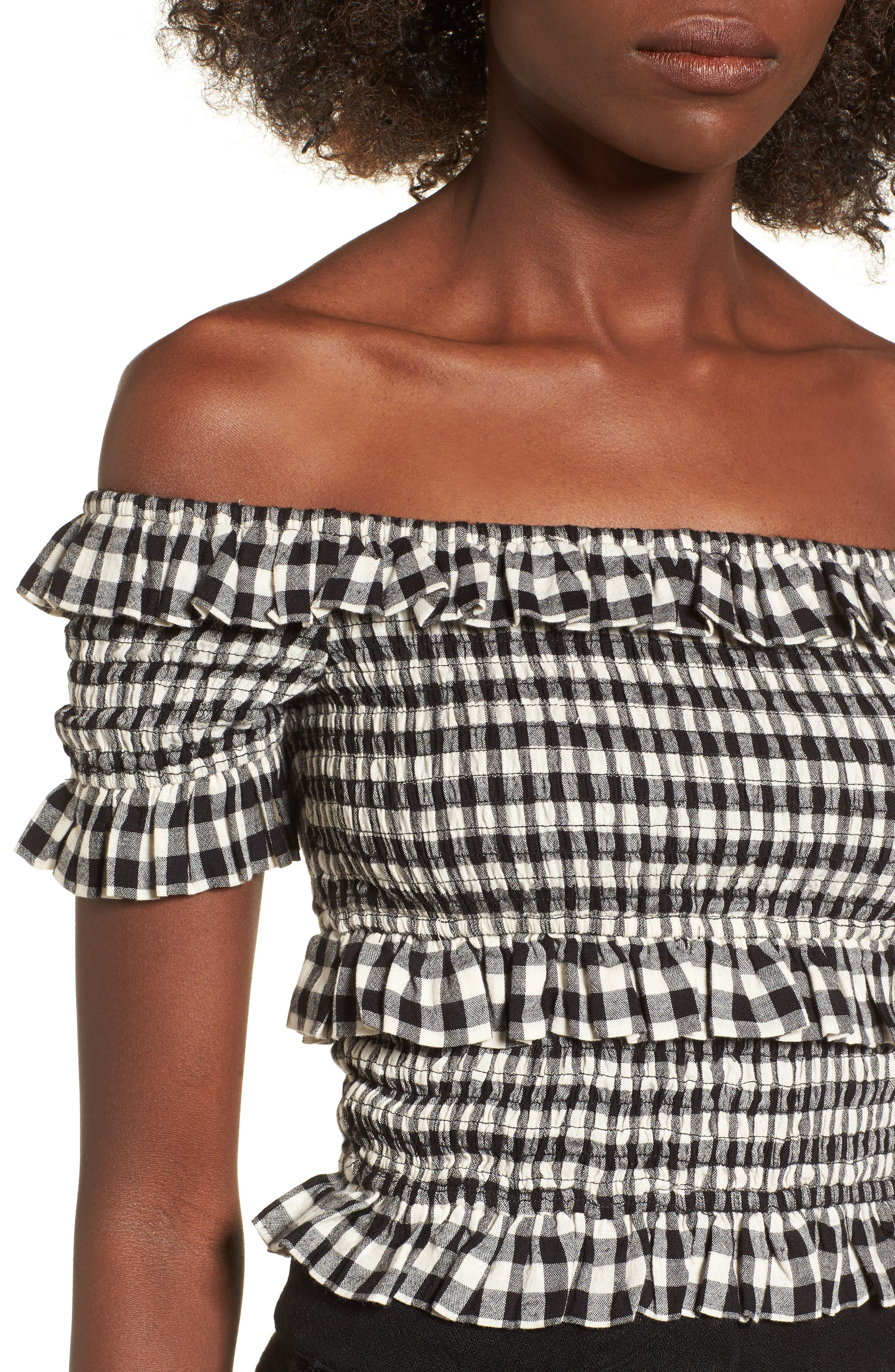 Off the Shoulder Smocked Top,                             Alternate thumbnail 4, color,                             BLACK GINGHAM