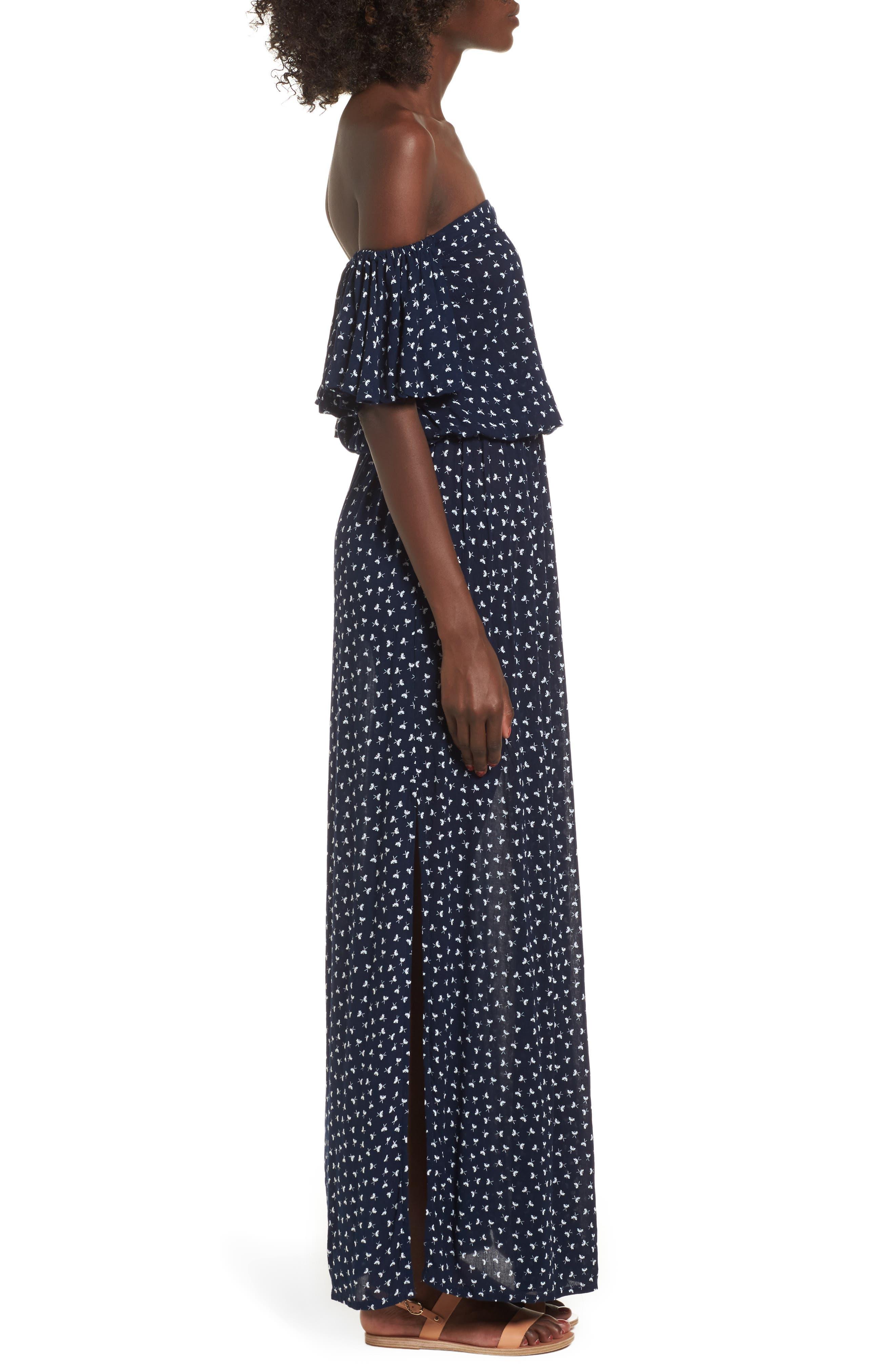 La Digue Off the Shoulder Maxi Dress,                             Alternate thumbnail 3, color,                             410