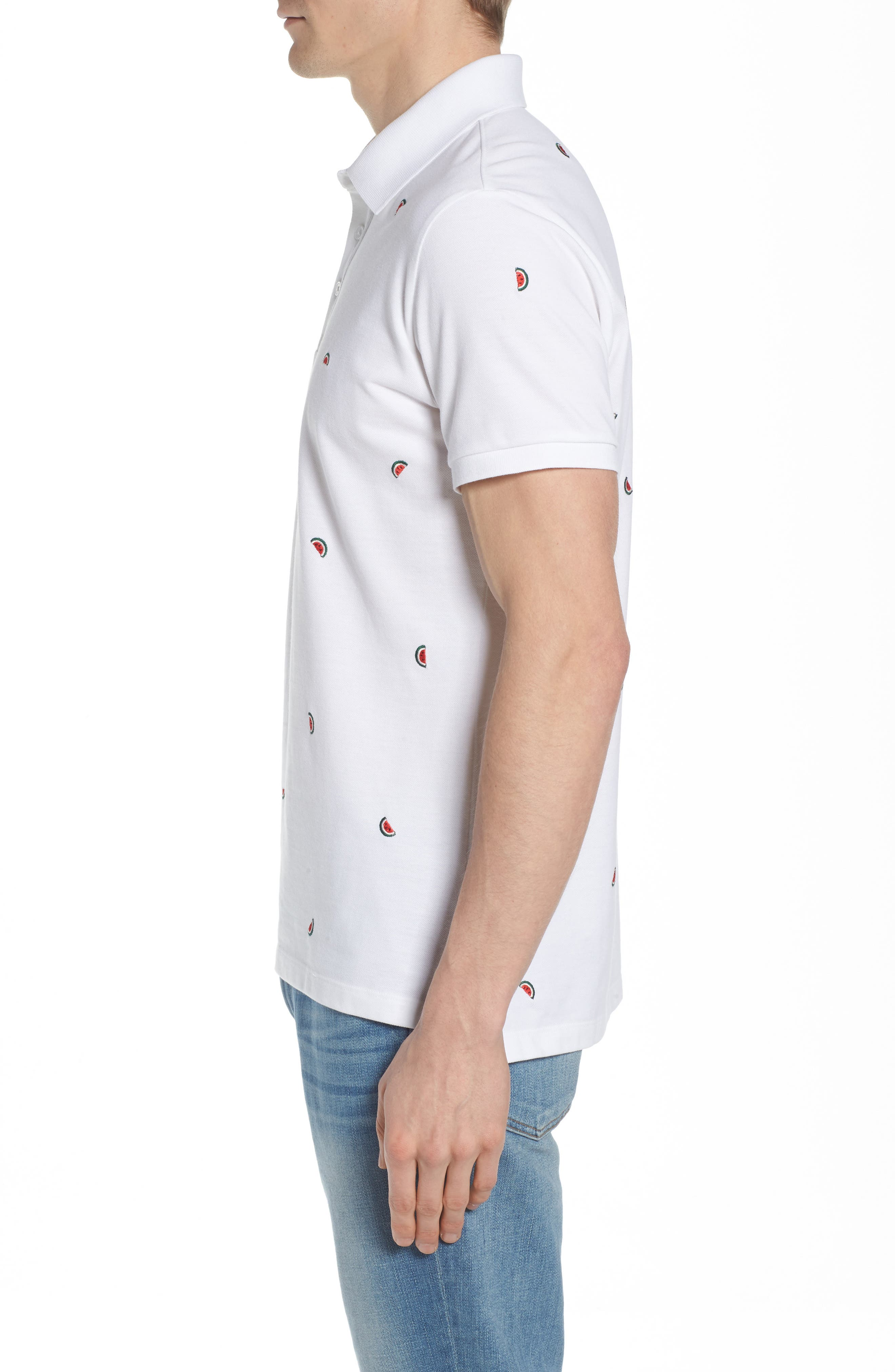 Slim Fit Embroidered Piqué Polo,                             Alternate thumbnail 6, color,